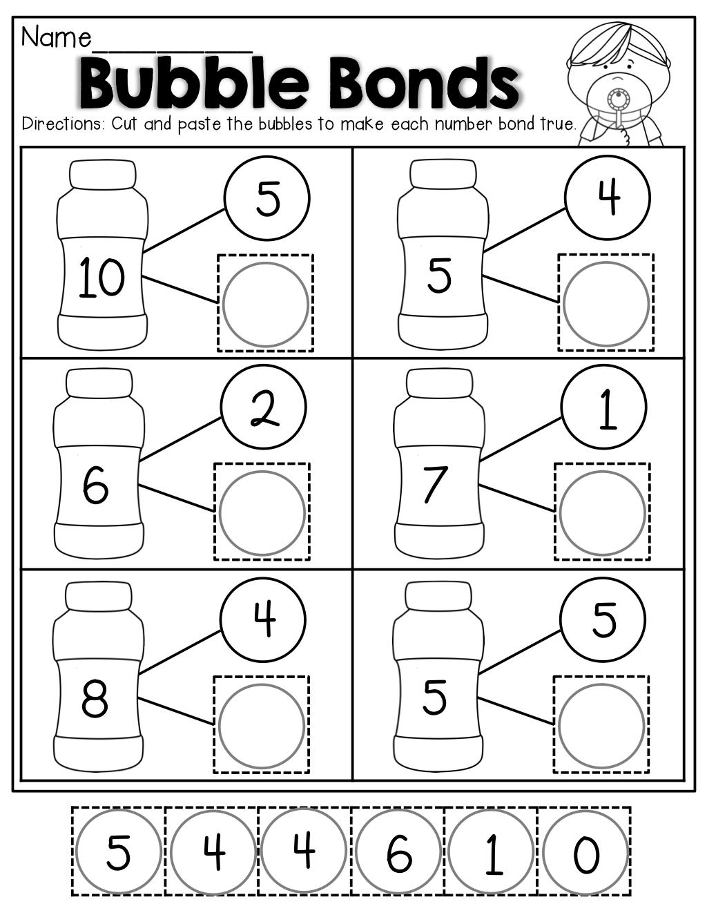 Number Bubble Bonds (Cut And Paste)   Kindergarten Activities - Free Printable Number Bonds Worksheets For Kindergarten