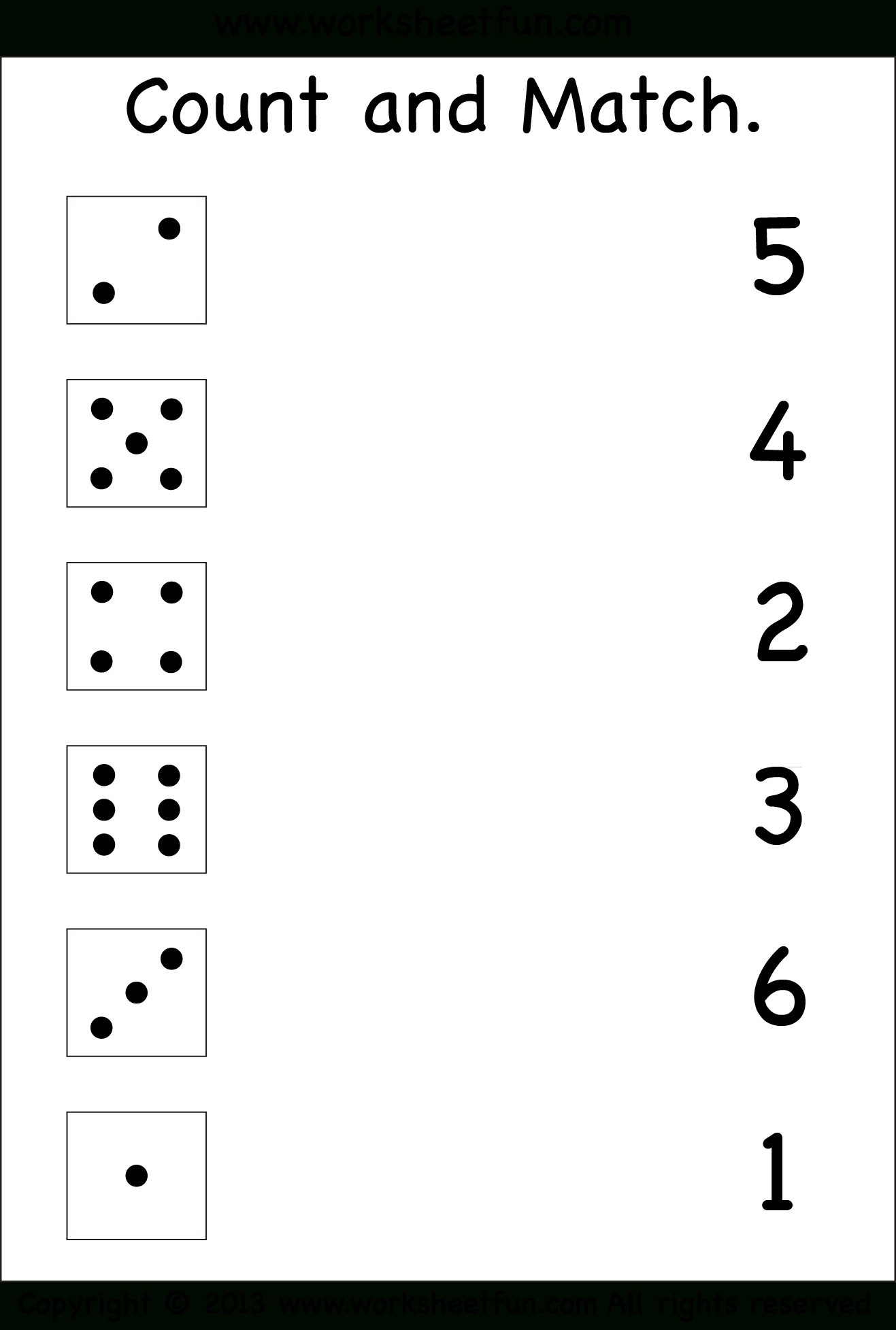Numbers – Count And Match / Free Printable Worksheets – Worksheetfun - Free Printable Worksheets For Kids