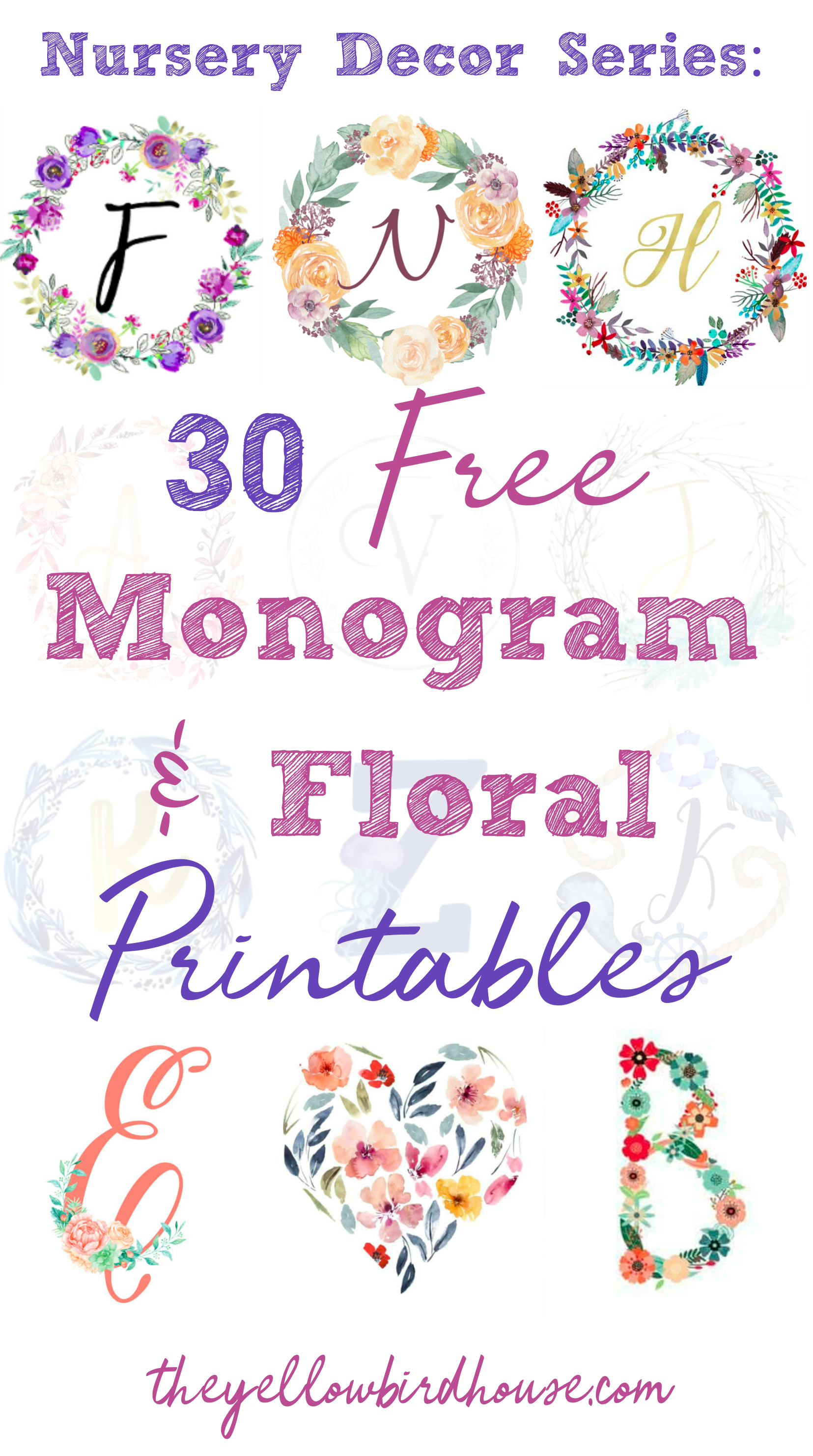 Nursery Decor Series: 30 Free Monogram Printables - Free Printable Monogram Letters