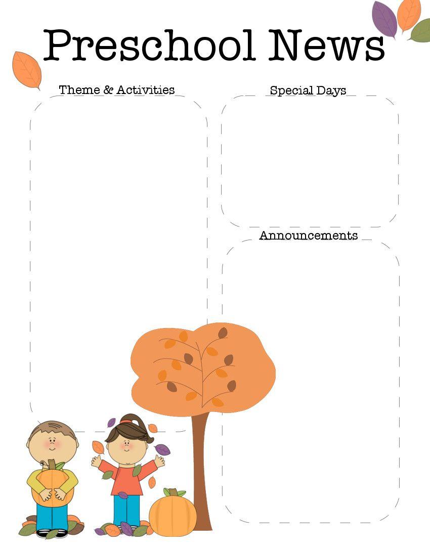 October Preschool Newsletter Template | Teaching Ideas | Pinterest - Free Printable Preschool Newsletter Templates