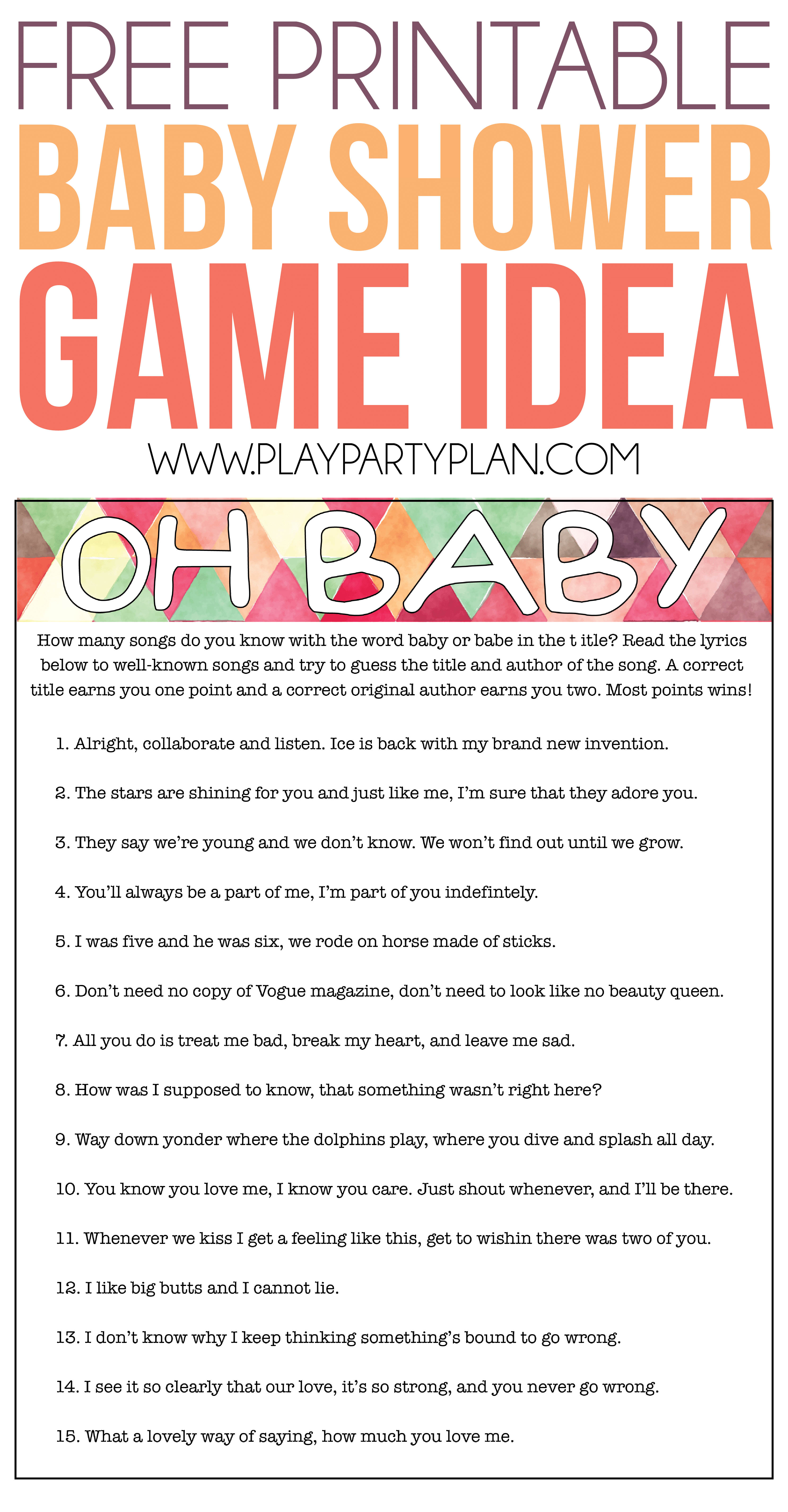 Oh Baby! Free Printable Baby Shower Game Expecting Moms Will Love - Free Printable Baby Shower Games For Large Groups