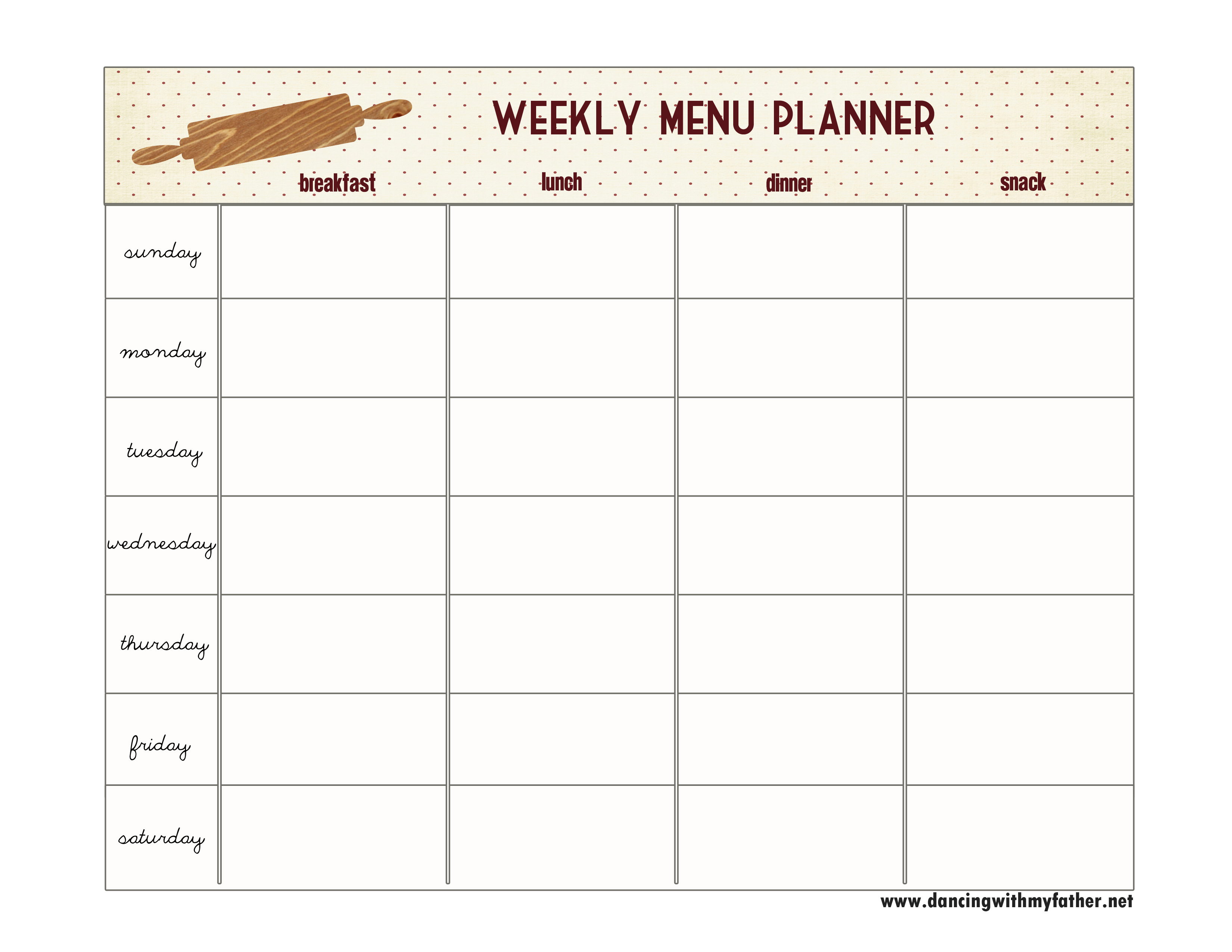 One Step Toward Organized {Free Printable Menu Planner} | Dancing - Free Printable Menu