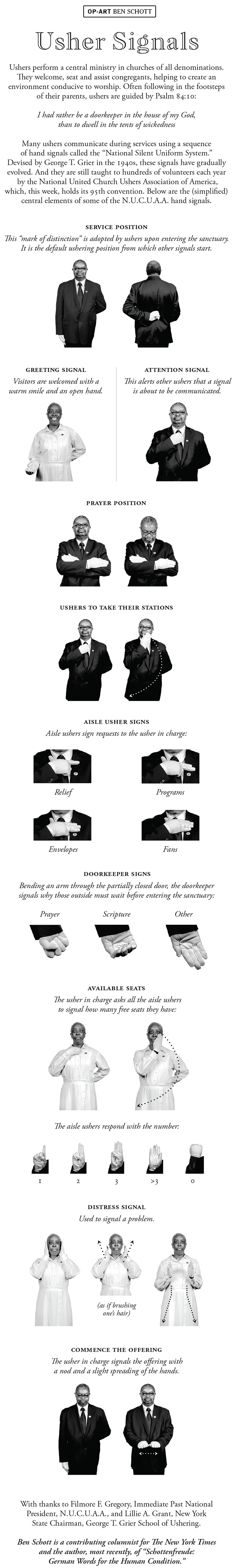 Opinion | Usher Signals - The New York Times - Free Printable Church Usher Hand Signals