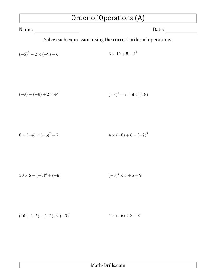 Order Of Operations With Negative And Positive Integers (Four Steps) (A) - Order Of Operations Free Printable Worksheets With Answers