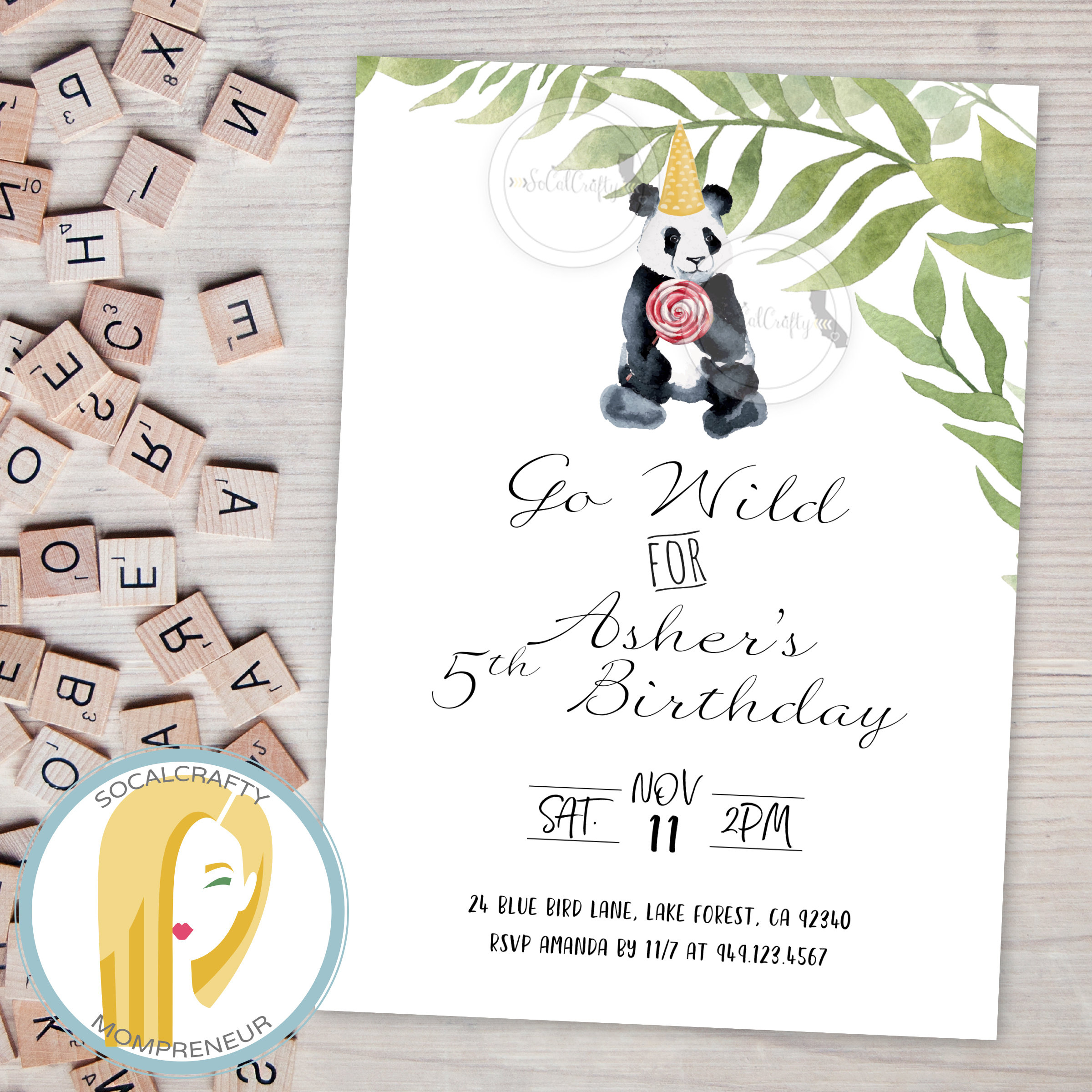 Panda Bear Birthday Party Invitation Zoo Animal Invitation   Etsy - Panda Bear Invitations Free Printable