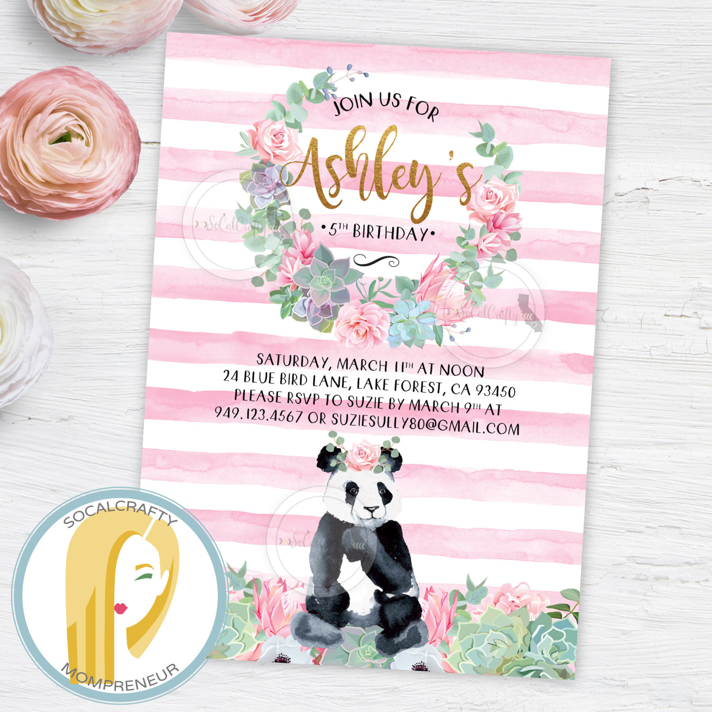 Panda Birthday Party Invitation Panda Bear Invitation Girl   Etsy - Panda Bear Invitations Free Printable