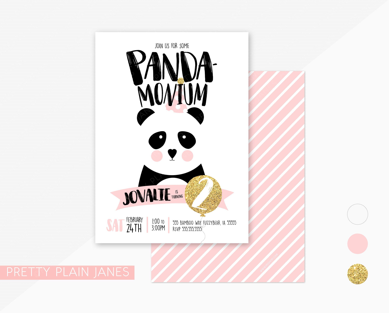 Panda Birthday Party Invitation   Panda-Monium Birthday Party Invite - Panda Bear Invitations Free Printable