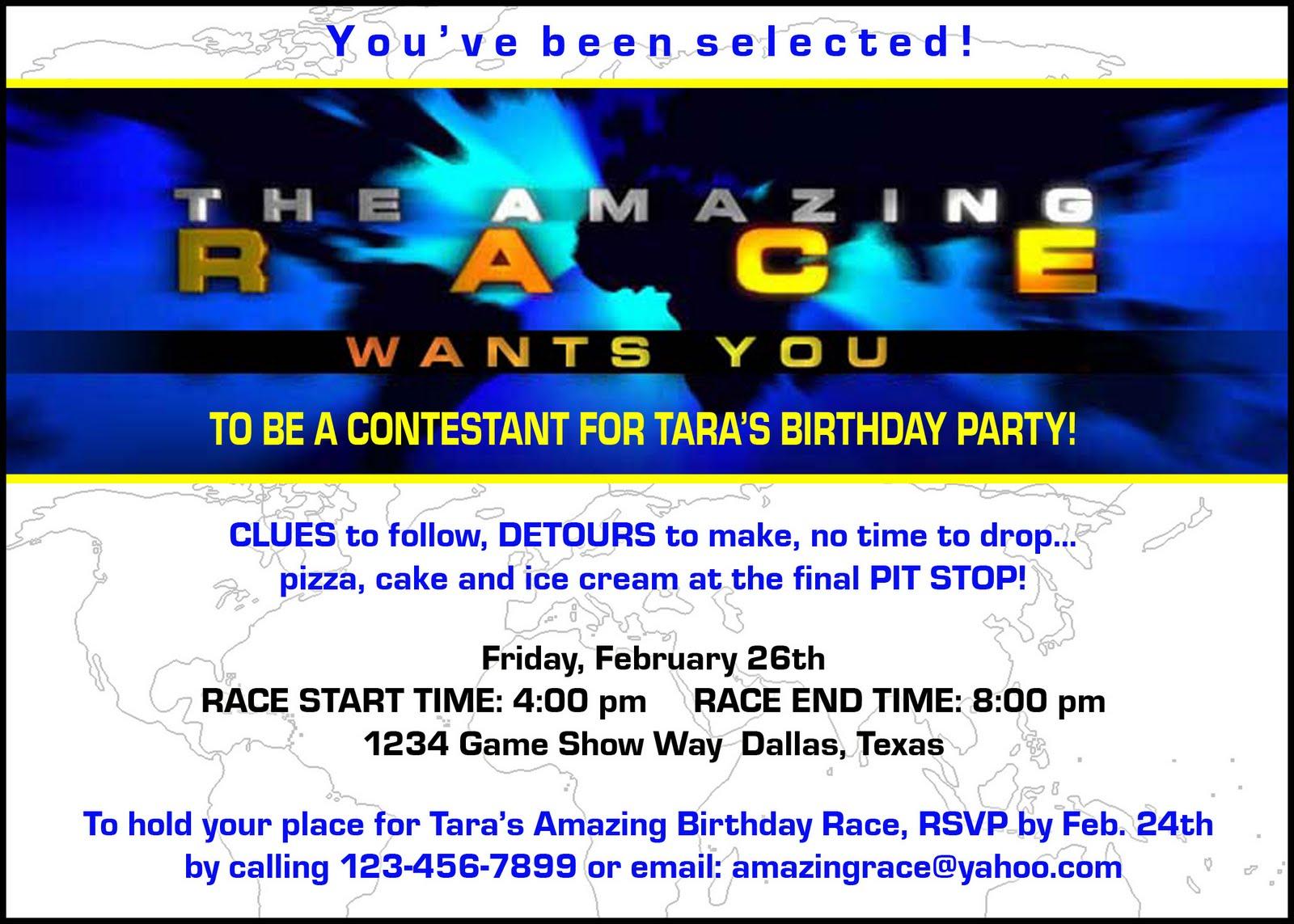 "Paper Perfection: Free ""amazing Race"" Birthday Party Invitation - Free Printable Amazing Race Invitations"