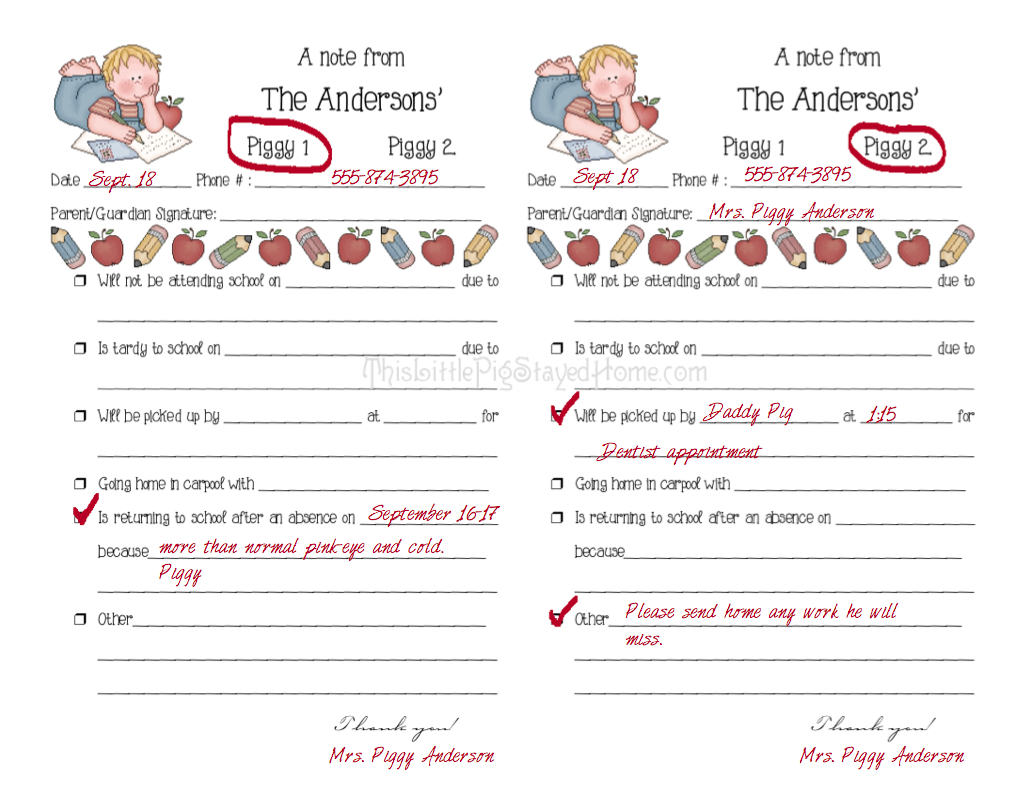 Parent Notes From Home To School. Free Printable Notes To Send With - Free Printable School Notes