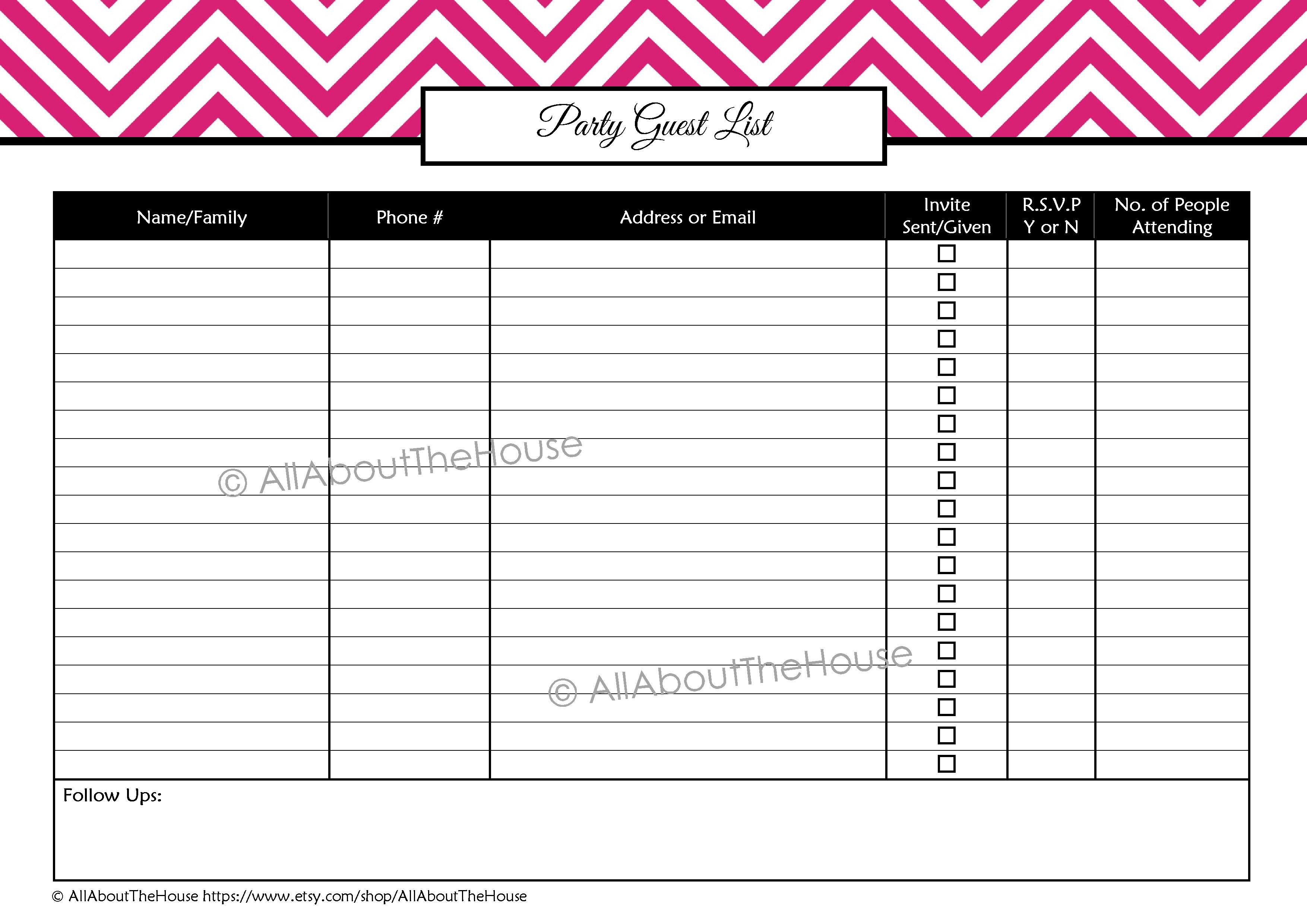 Party Planning Printables Kit! - All About Planners - Free Printable Birthday Guest List
