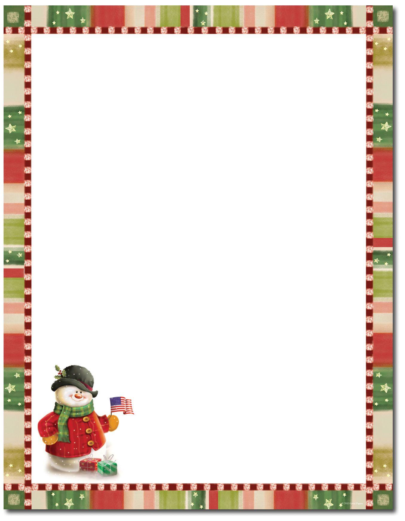 Patriotic Snowman Letterhead   Christmas Stationery   Christmas - Free Printable Christmas Stationery Paper