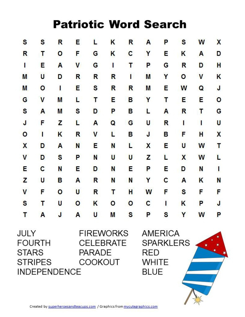 Patriotic Word Search Free Printable - Free Search A Word Printable