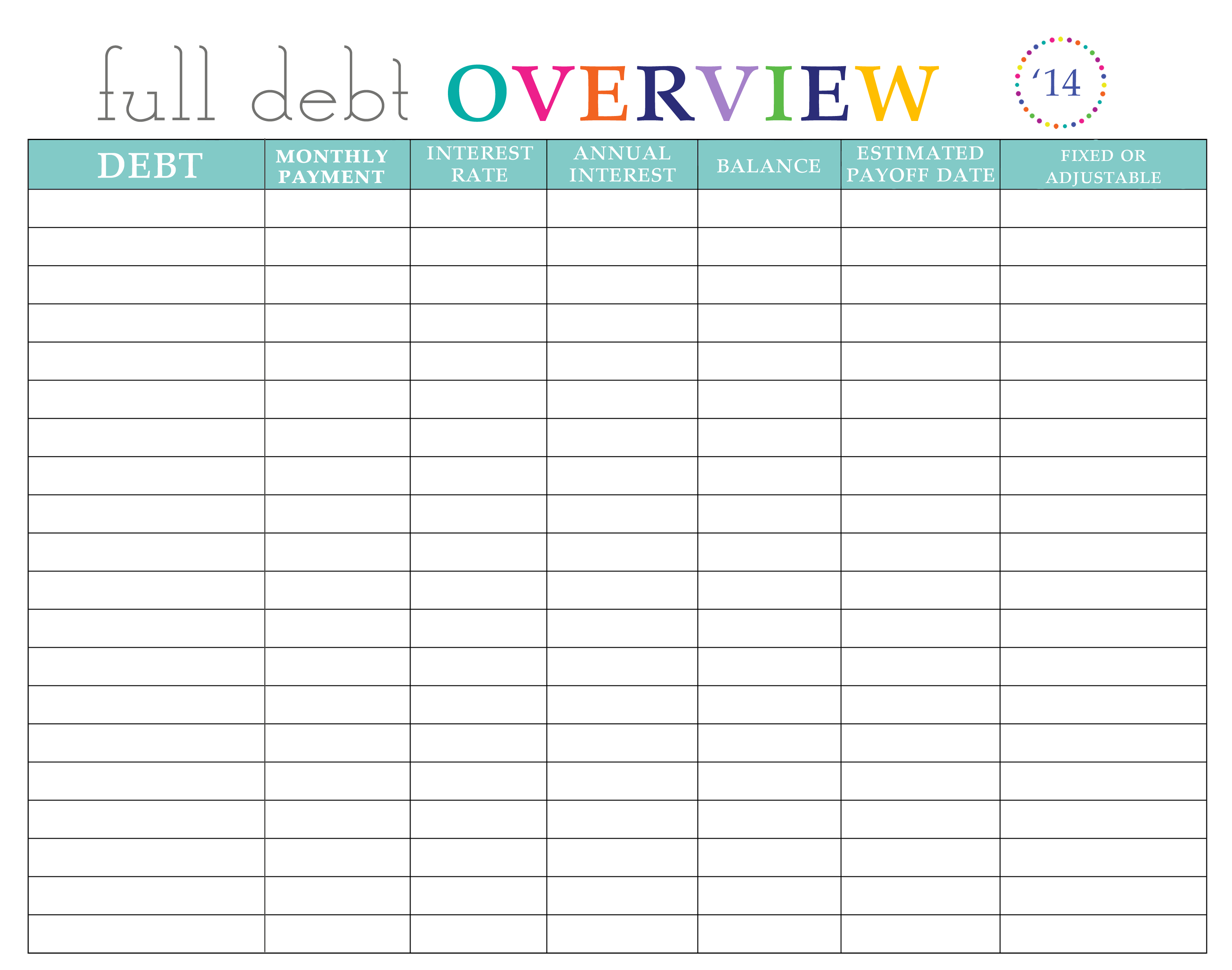 Paying Off Debt Worksheets - Free Printable Debt Snowball Worksheet