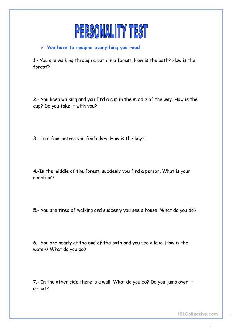 Personality Test Worksheet - Free Esl Printable Worksheets Made - Free Printable Personality Test
