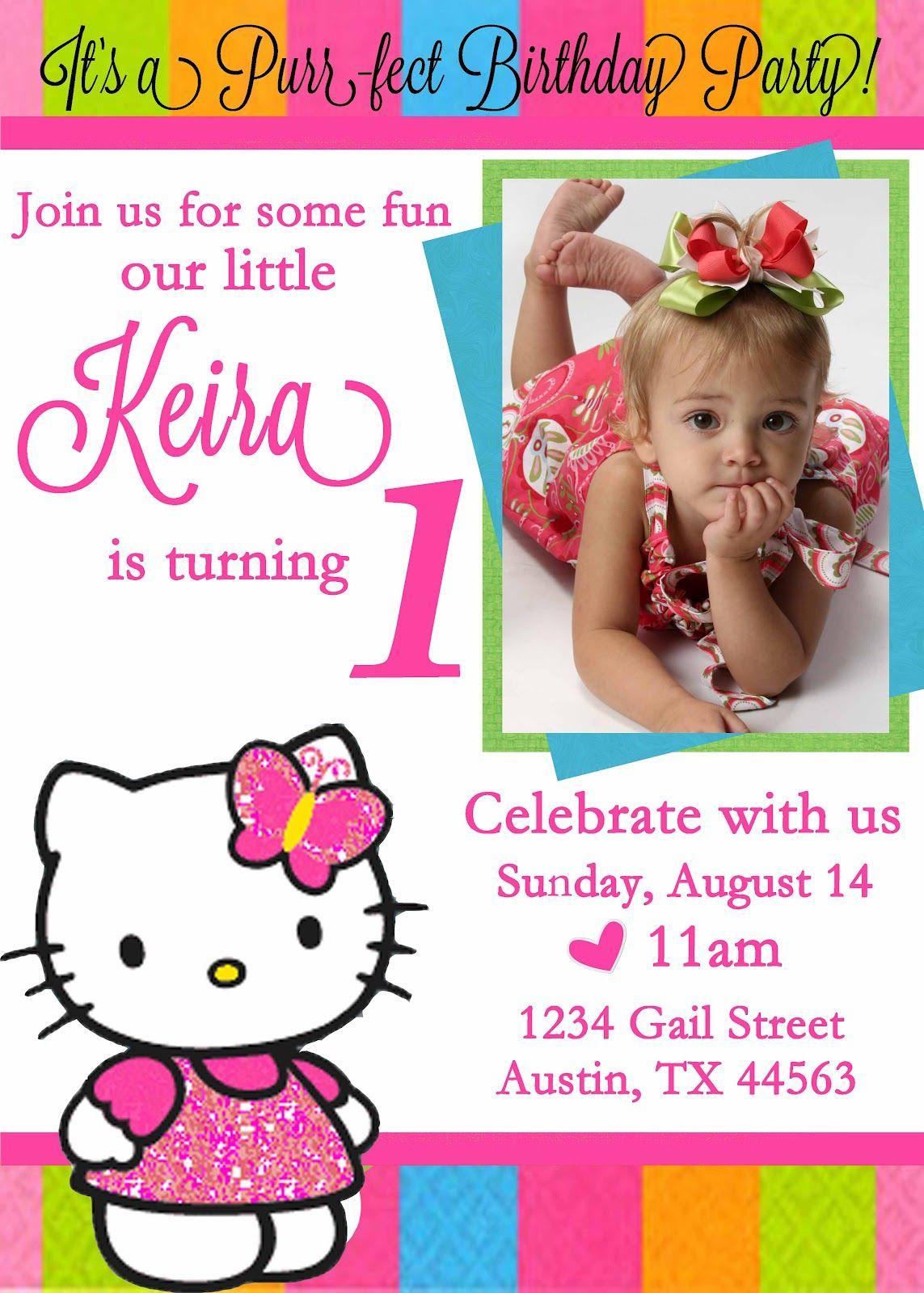 Personalized Hello Kitty Birthday Invitations -   Free Printable - Free Printable Personalized Birthday Invitation Cards