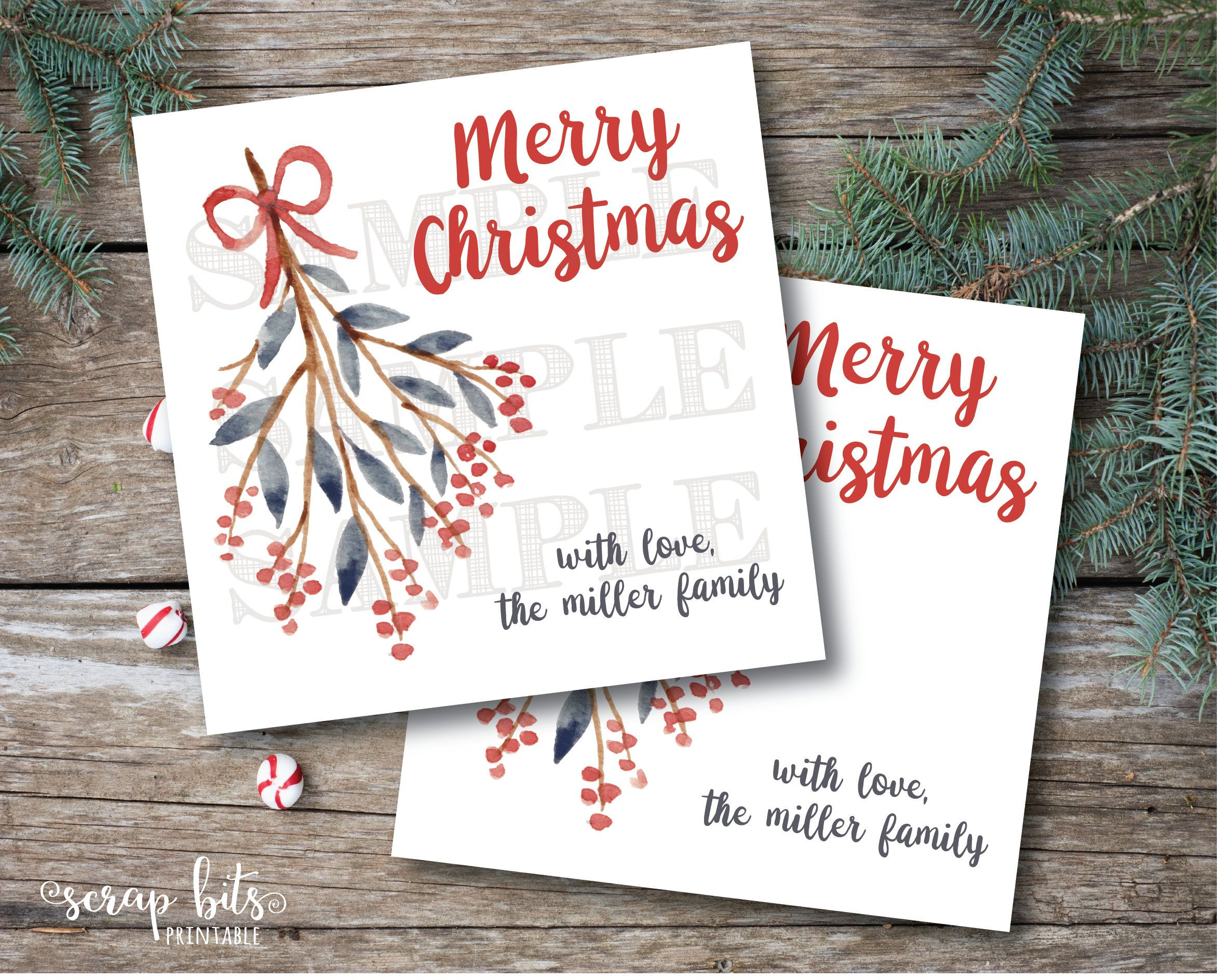 Personalized Printable Christmas Tags, Printable Mistletoe Christmas - Free Printable Mistletoe Tags