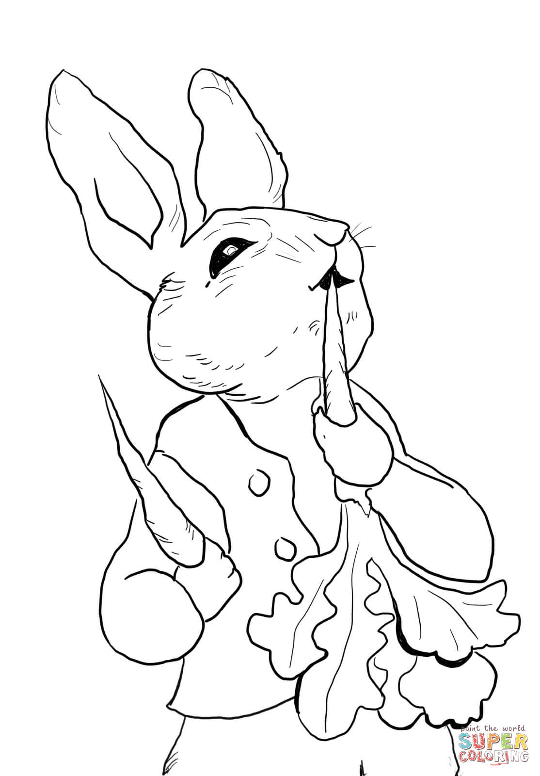 Peter Rabbit Eating Radishes Coloring Page | Free Printable Coloring - Free Printable Peter Rabbit Coloring Pages