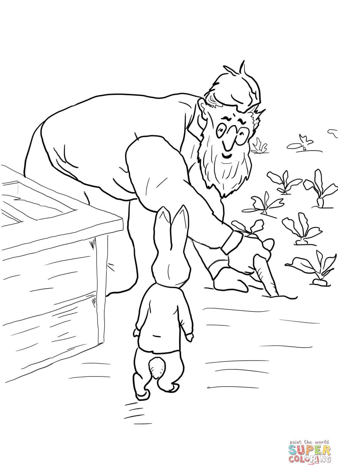 Peter Rabbit Is Spottedmr Mcgregor Coloring Page | Free - Free Printable Peter Rabbit Coloring Pages
