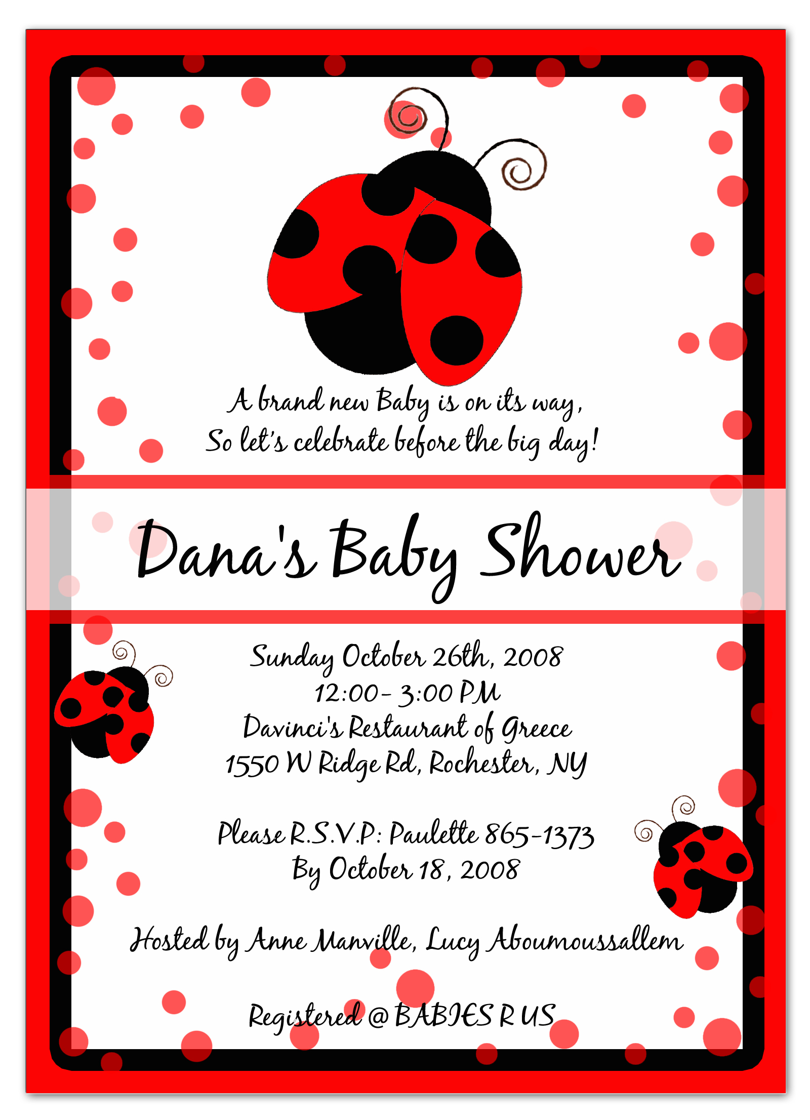 Photo : Cheap Sweet Pea Invitations Image - Free Printable Ladybug Baby Shower Invitations Templates