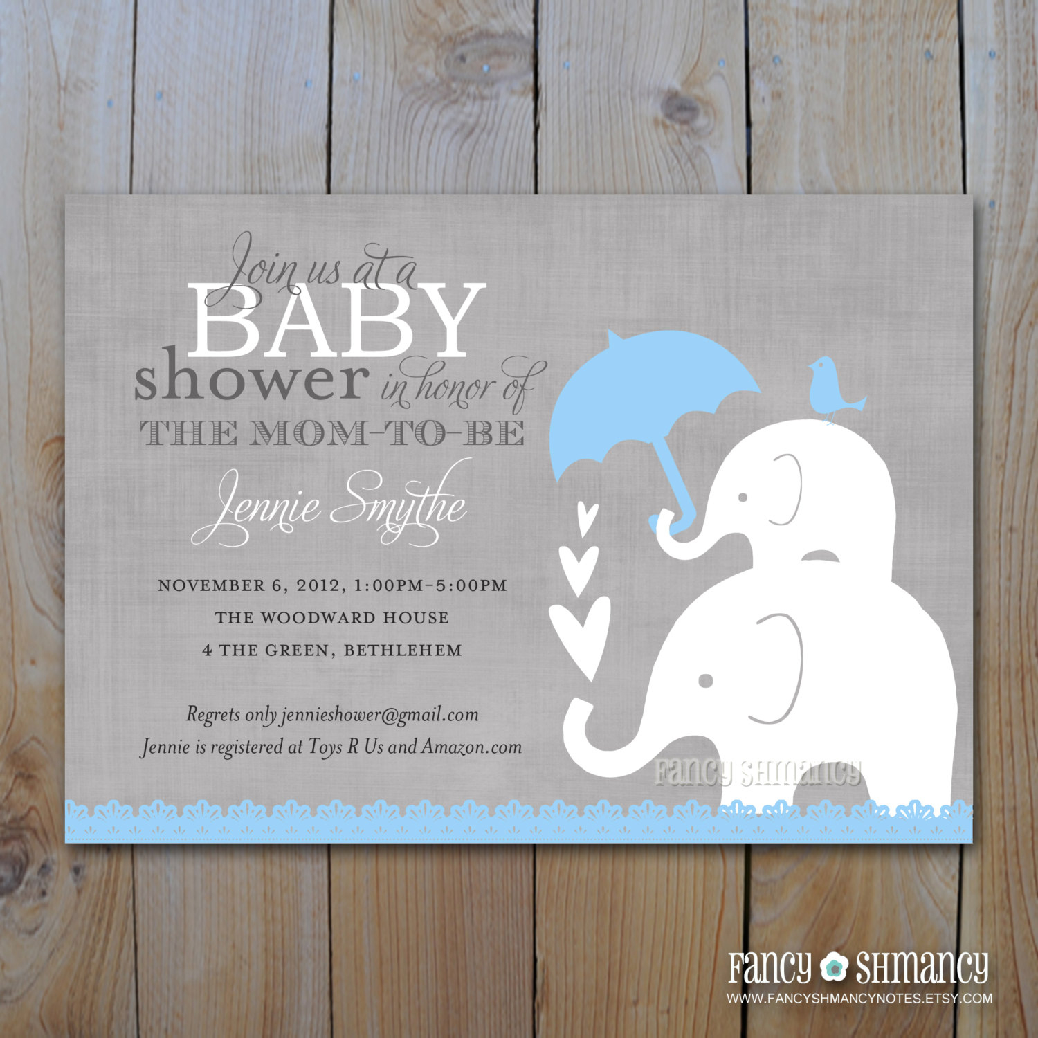 Photo : Elephant Baby Shower Invitation Image - Free Printable Elephant Baby Shower Invitations