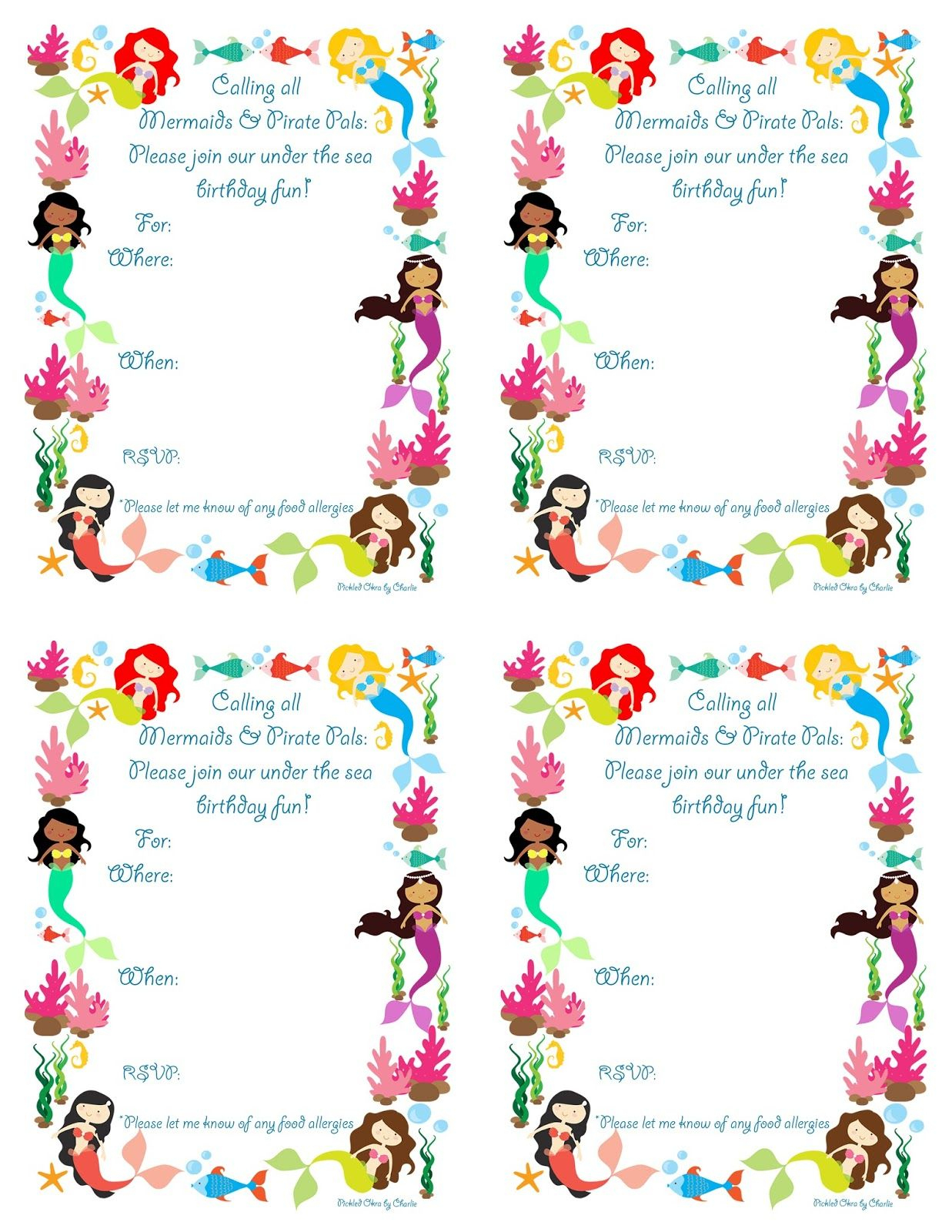 Pickled Okracharlie: Mermaid Bithday Party Invitations, Free - Mermaid Birthday Invitations Free Printable