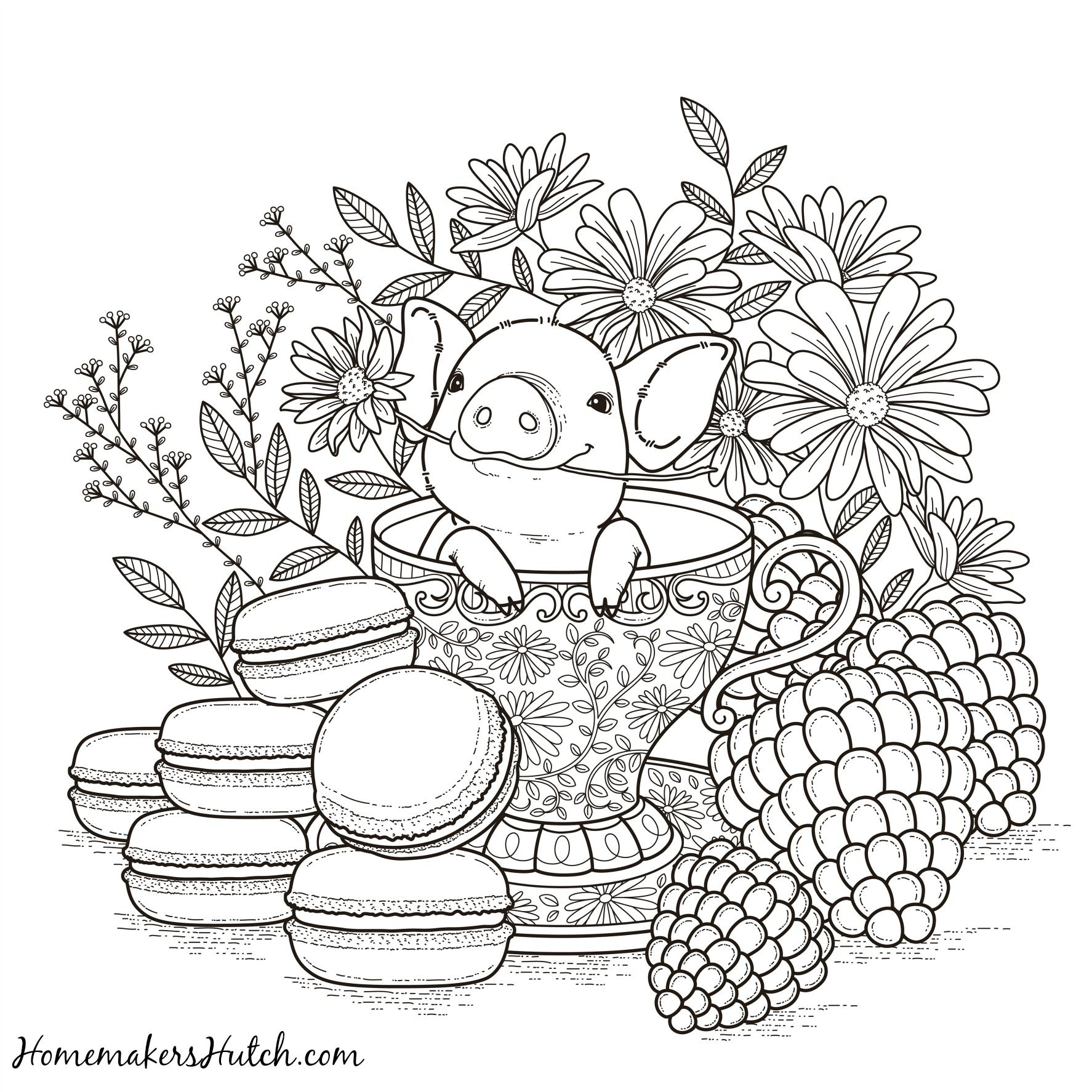 Pig In A Tea Cup - Adult Coloring Page | Coloring | Adult Coloring - Free Printable Tea Cup Coloring Pages