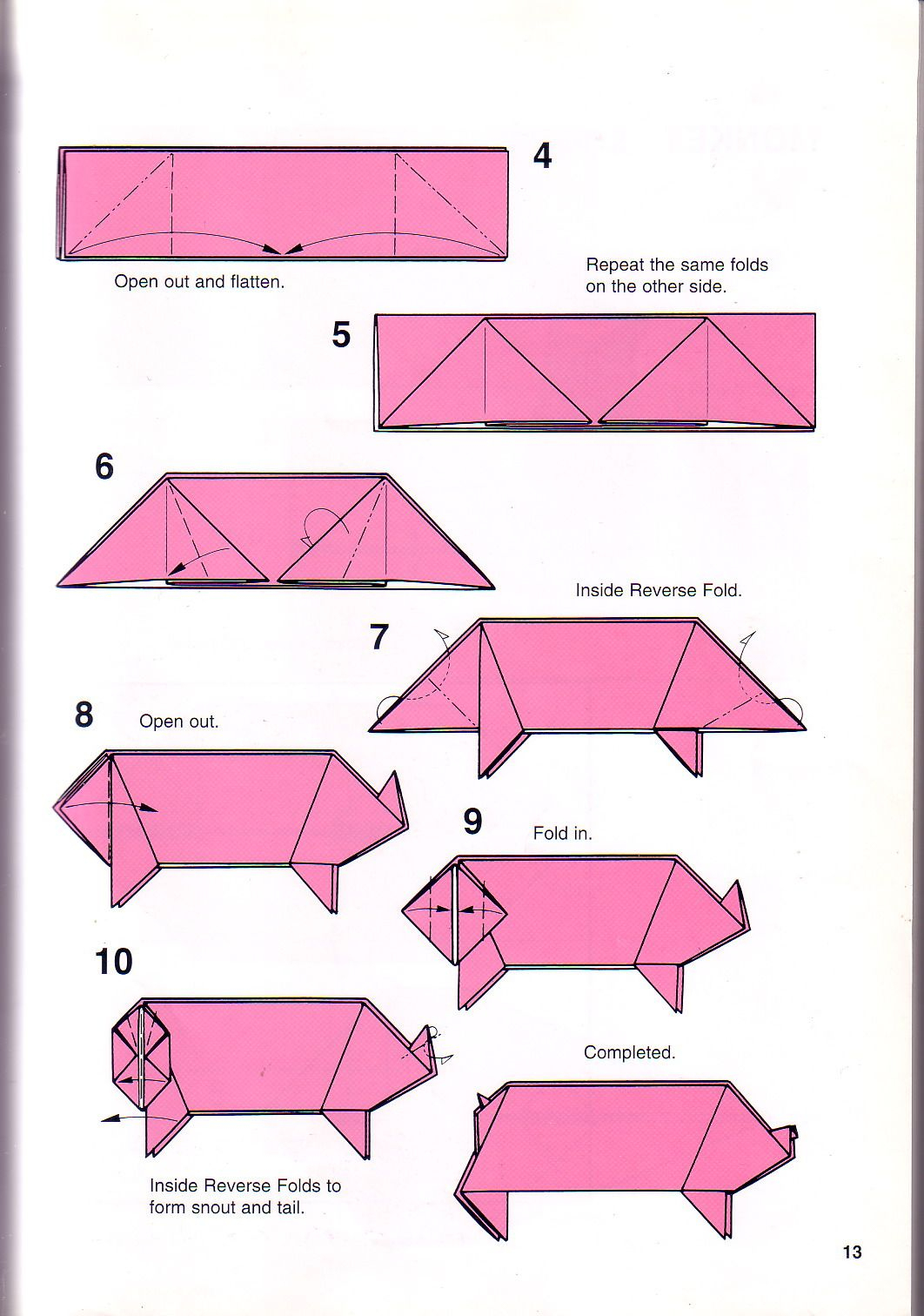 Pig Origami Instructions | Origami Printable Instructions - Free Easy Origami Instructions Printable