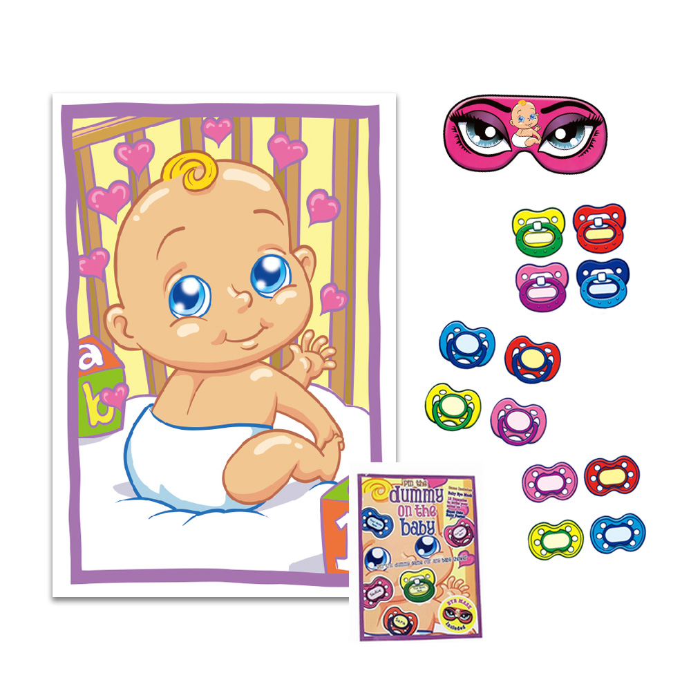 Pin The Pacifier Baby Shower Game (Mask & 12 Pacifiers Included - Pin The Dummy On The Baby Free Printable