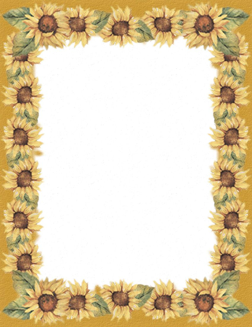 Pinannette Whayn-Haling On Blank Pages | Borders For Paper - Free Printable Sunflower Stationery