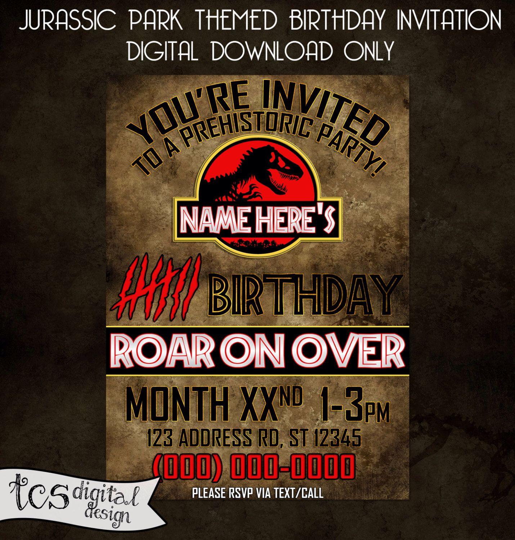 Pinchristie Rogers On Birthday Invites | Jurassic Park Party - Free Printable Jurassic Park Invitations