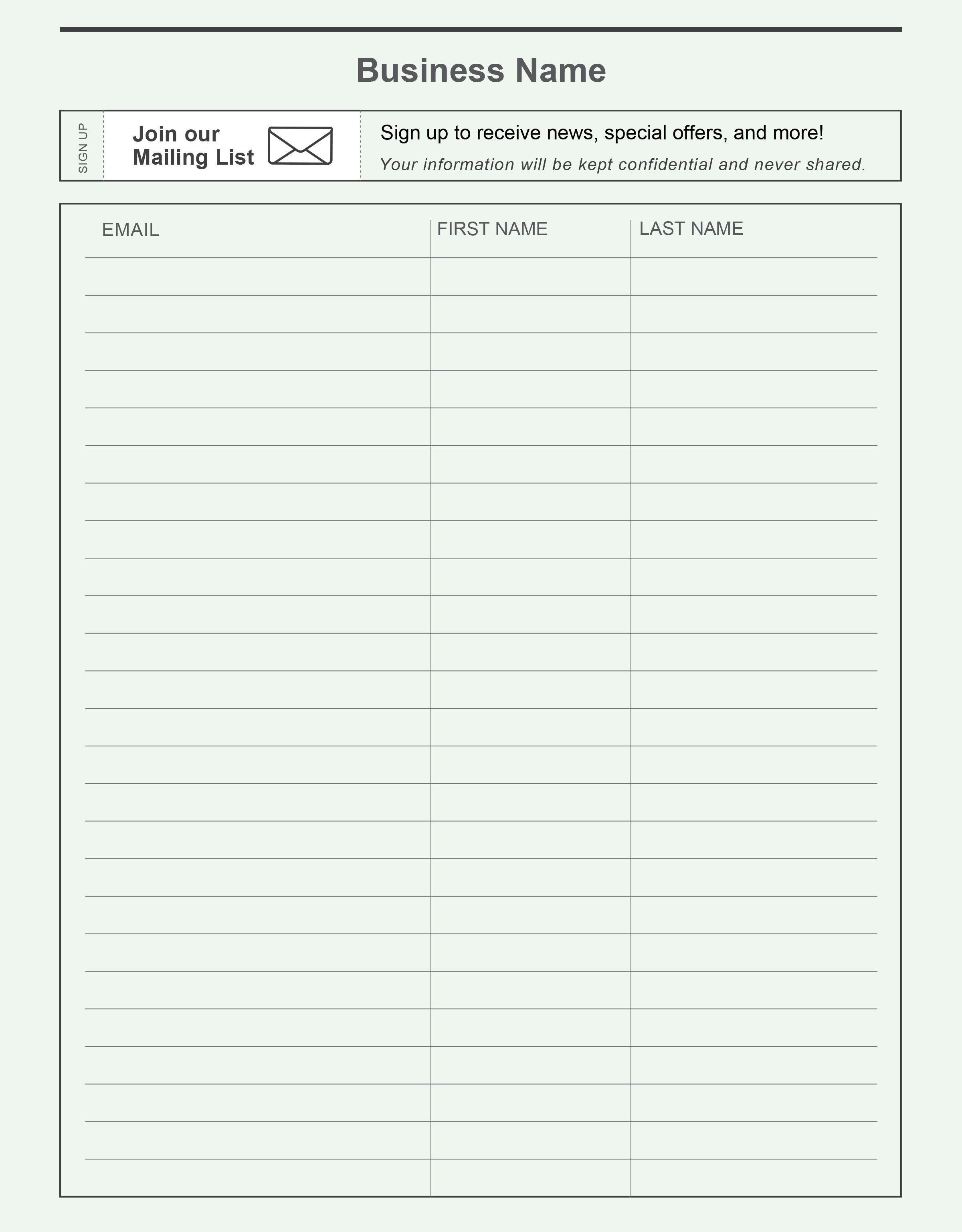 Pinconstant Contact On Grow Your Email List | Free Stuffmail - Free Printable Salon Sign In Sheets