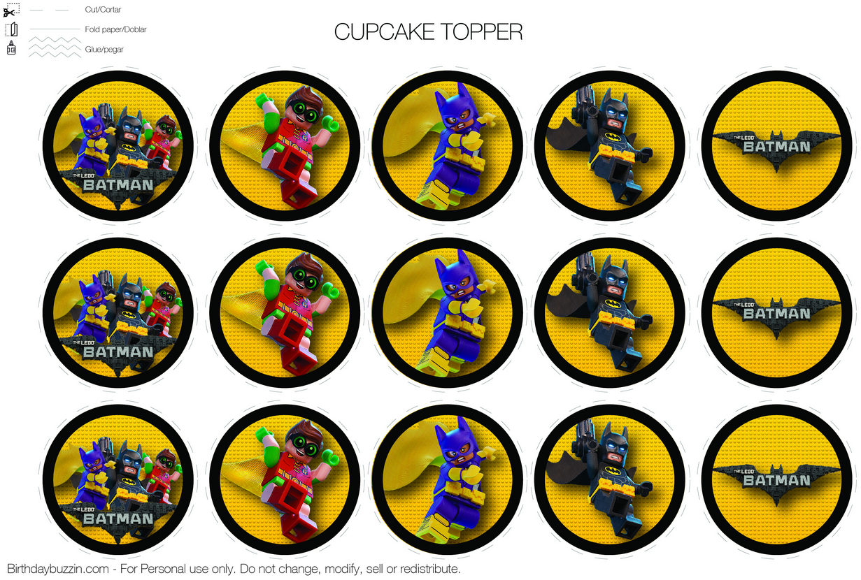 Pincrafty Annabelle On Lego Batman-Super Heros Printables In - Free Printable Lego Cupcake Toppers