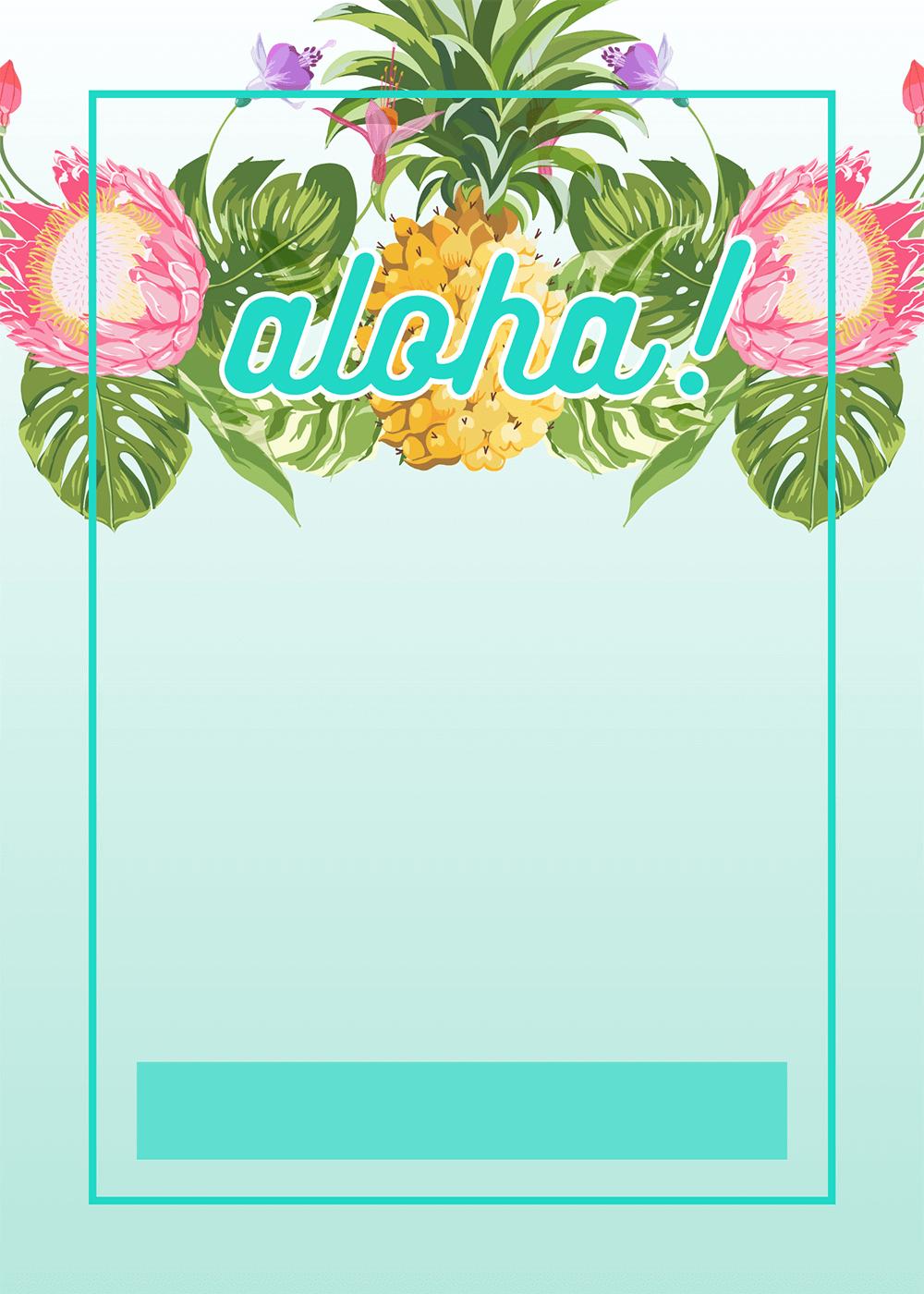 Pineapple Luau Perimeter - Free Printable Birthday Invitation - Free Printable Luau Baby Shower Invitations