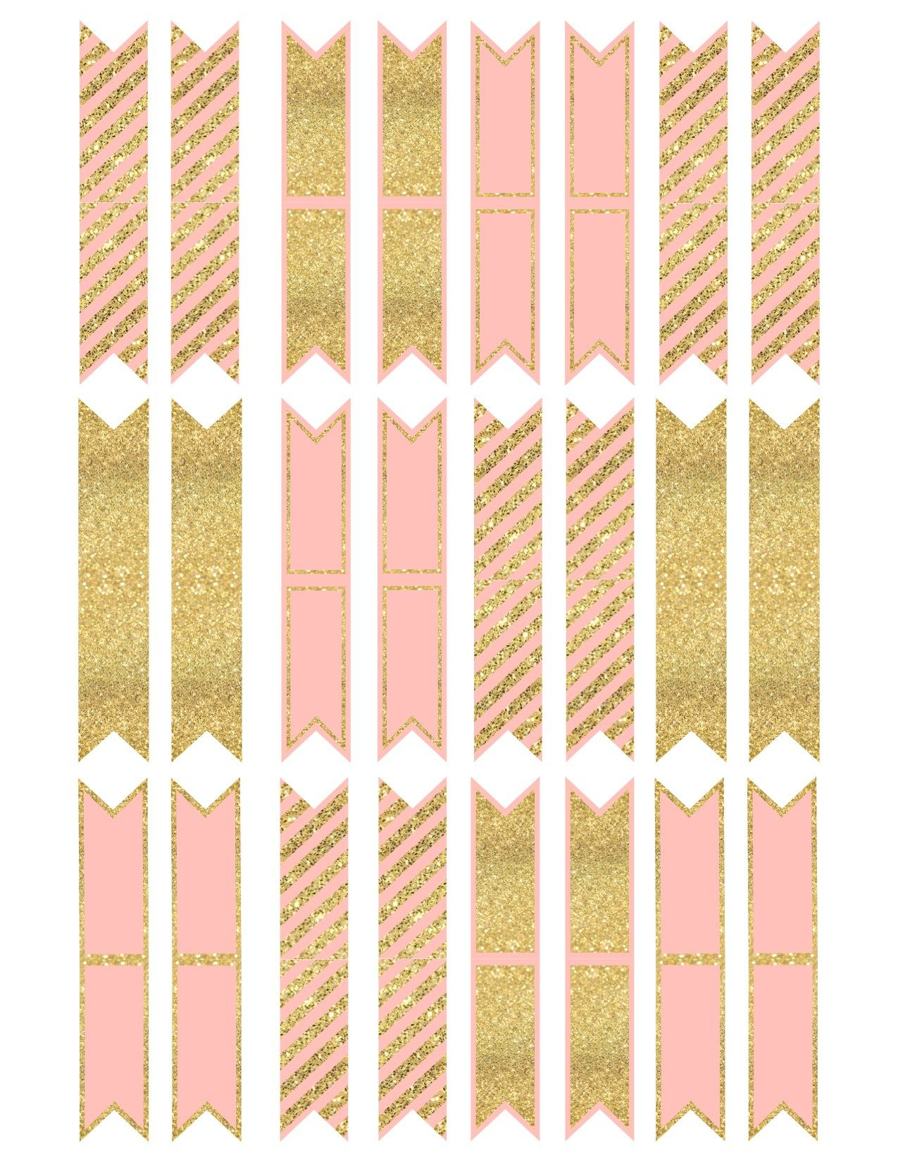 Pink And Gold Cupcake Topper Flags Or Bunting   Diy   Pinterest - Baby Shower Bunting Free Printable