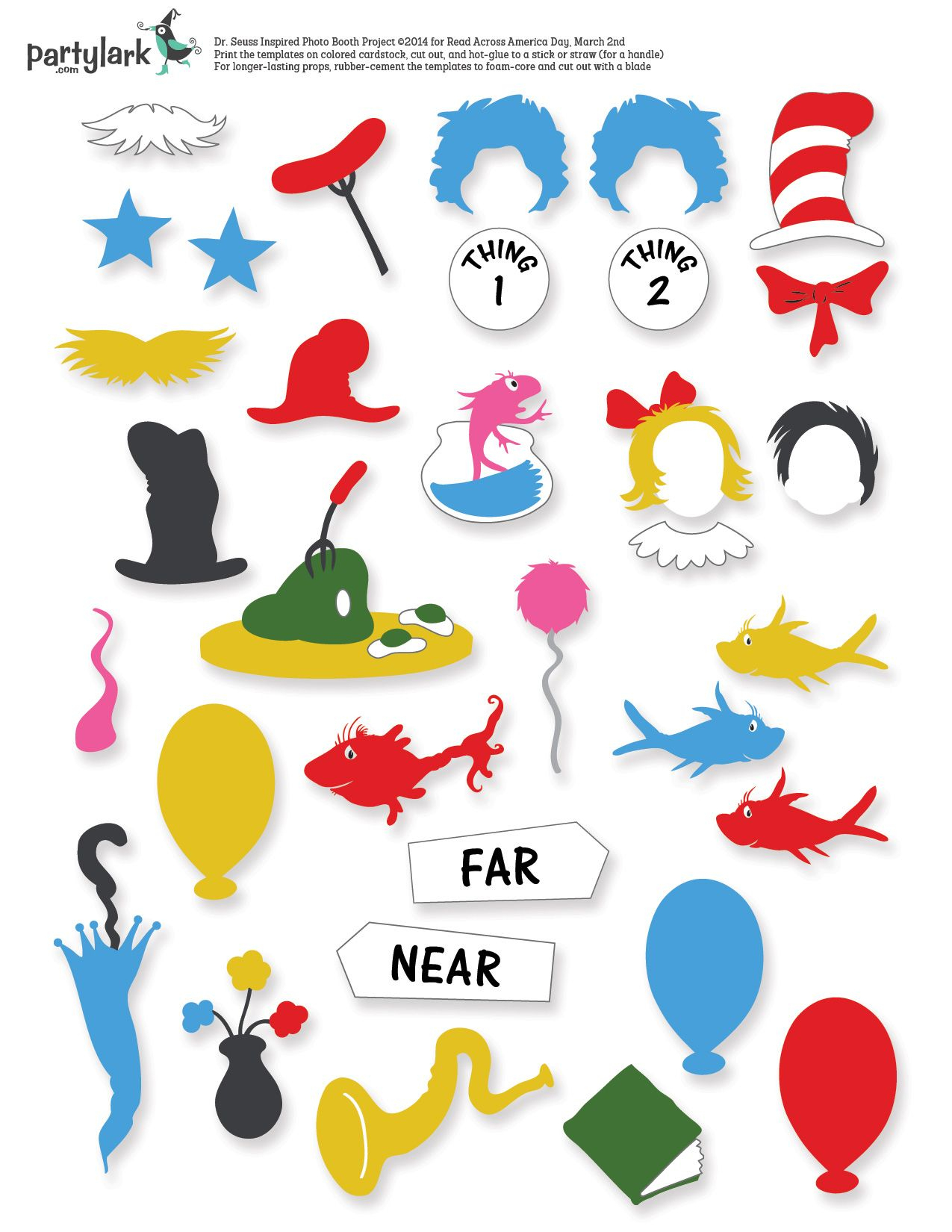 Pinparty Lark On Partytime March: Kiddos & Printables | Dr Seuss - Free Printable Dr Seuss Photo Props