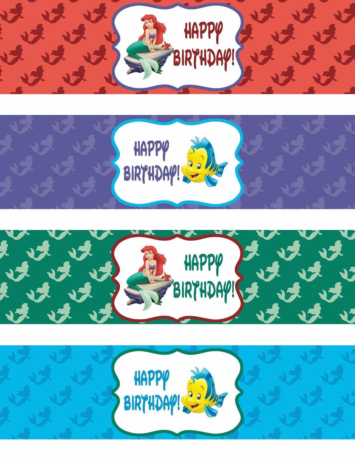 Pinroxy Pelonia On Zoe's 1St Bday   Pinterest   Mermaid Happy - Free Printable Little Mermaid Water Bottle Labels