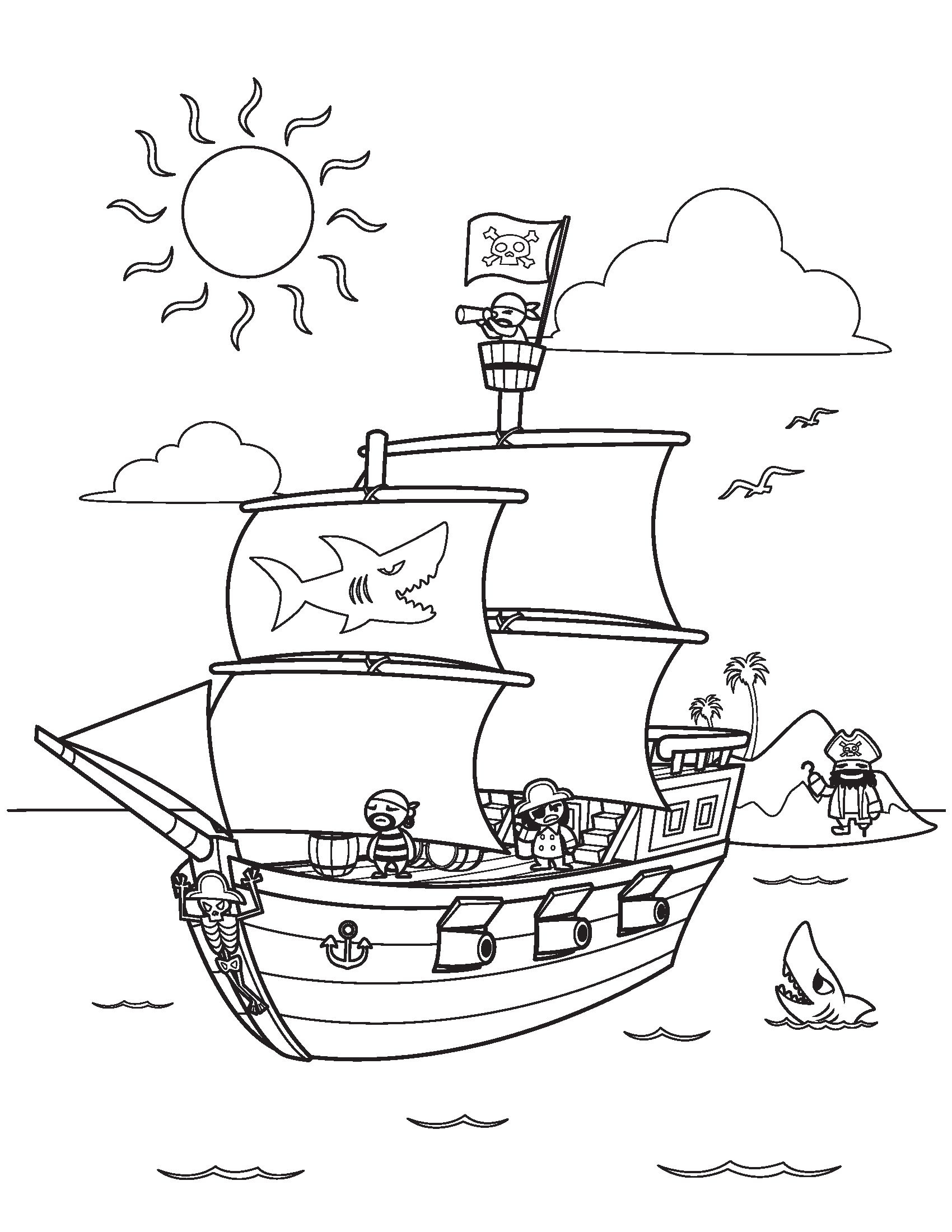 Pirate Ship Coloring Pages Kidsfreecoloring | Free Download Kids - Free Printable Boat Pictures