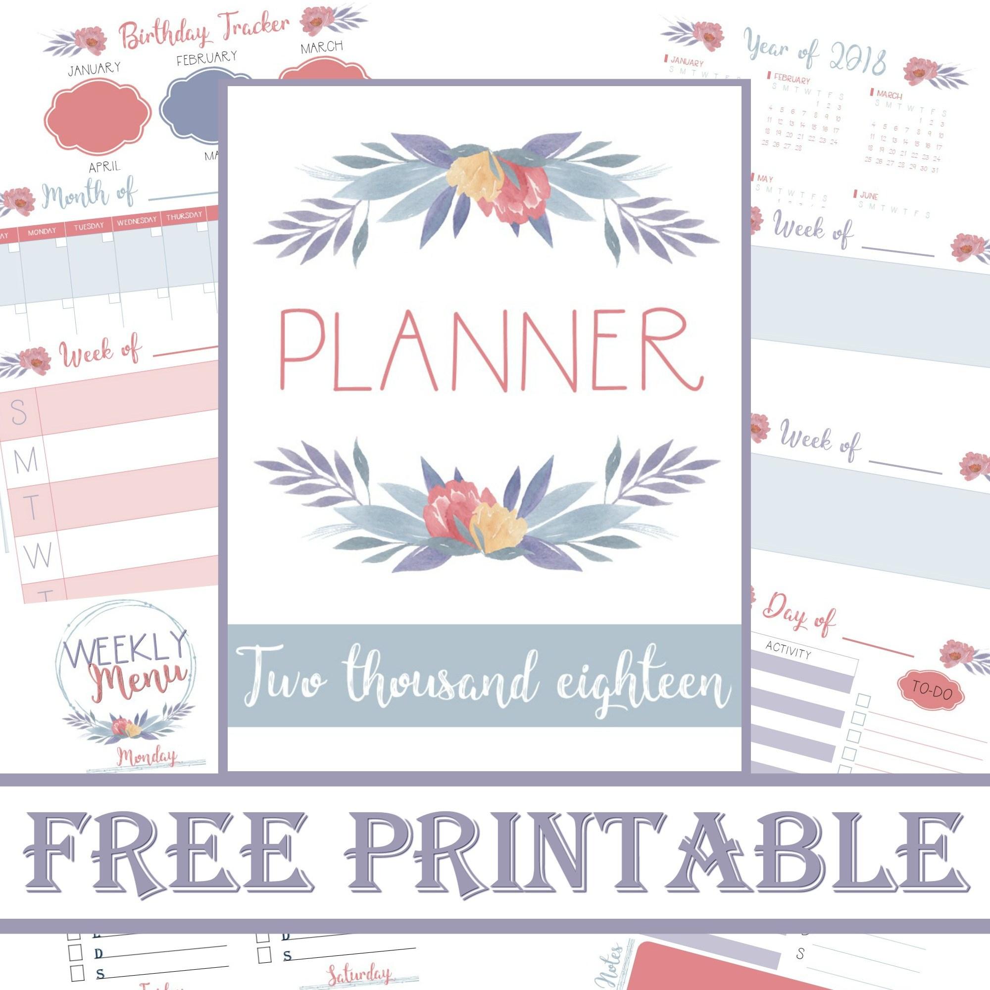 Planner 2018 | Free Printable Calander | Meal Planner | Save Money - Planner 2018 Printable Free