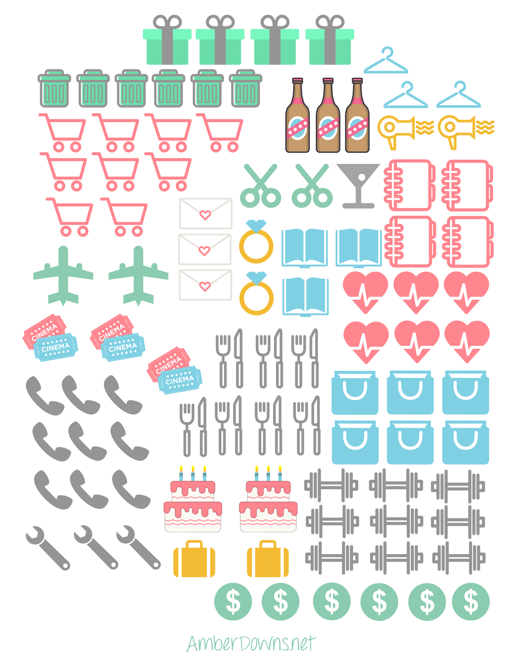 Planner Icon Stickers- Free Printable | Prefect Printables | Planner - Free Printable Icons