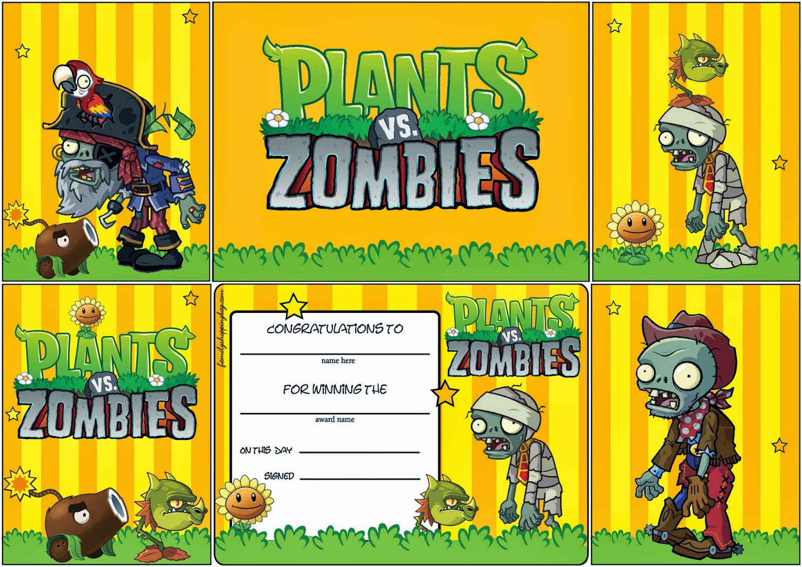 Plants Vs Zombies: Free Printable Cards Or Invitations. | Oh My - Plants Vs Zombies Free Printable Invitations