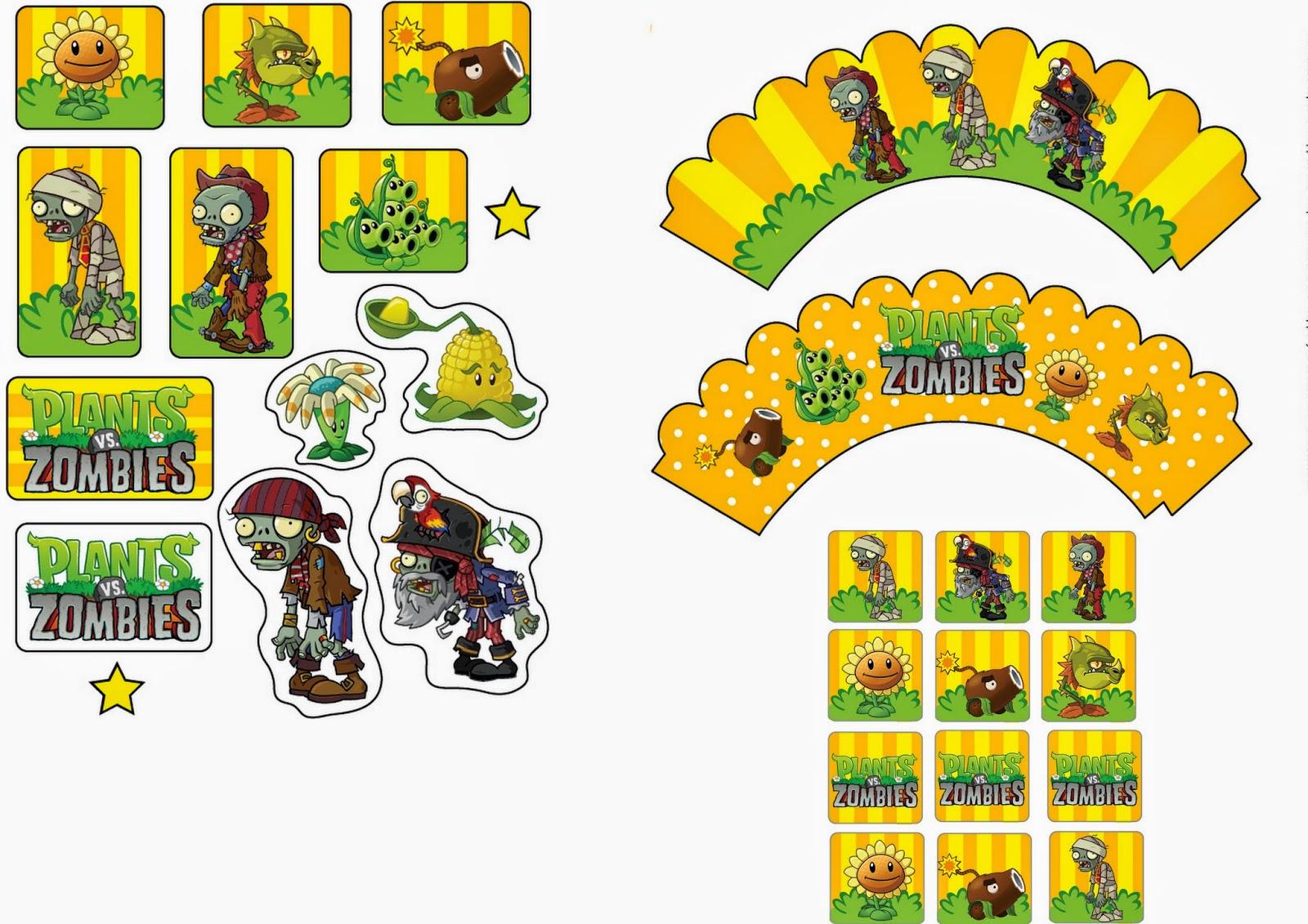 Plants Vs Zombies: Free Printable Cupcake Toppers And Wrappers. | Oh - Plants Vs Zombies Free Printable Invitations