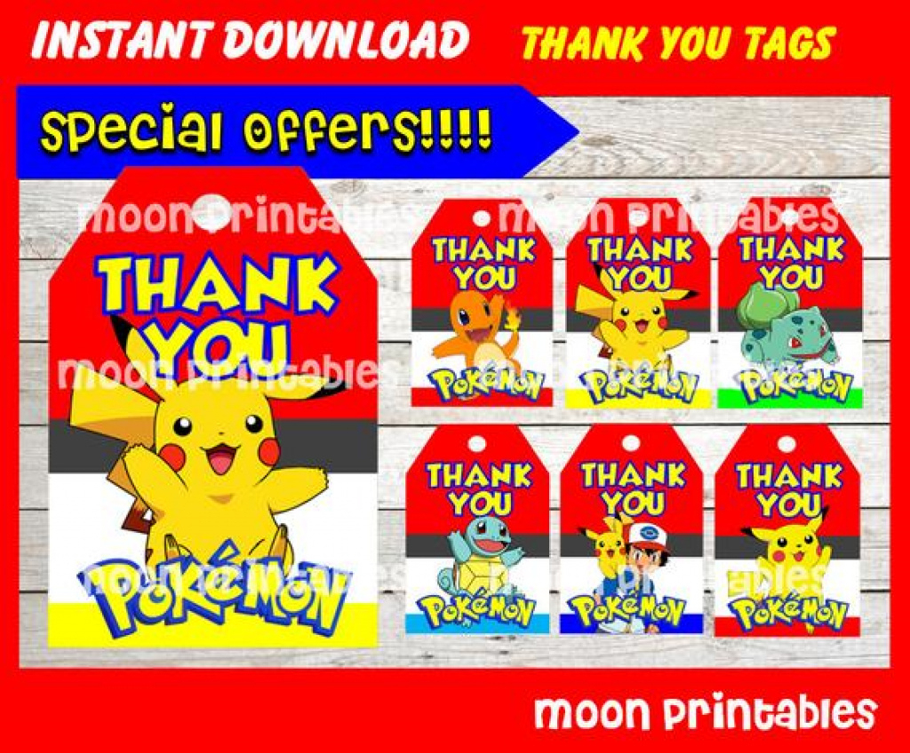 Pokemon Birthday Party Printable Tags And Labels | Birthday Wikii - Free Printable Pokemon Thank You Tags
