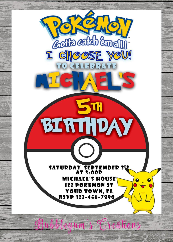 Pokemon Go Birthday Invitation - Pokemon Invite - Printable - Digital - Pokemon Invitations Printable Free