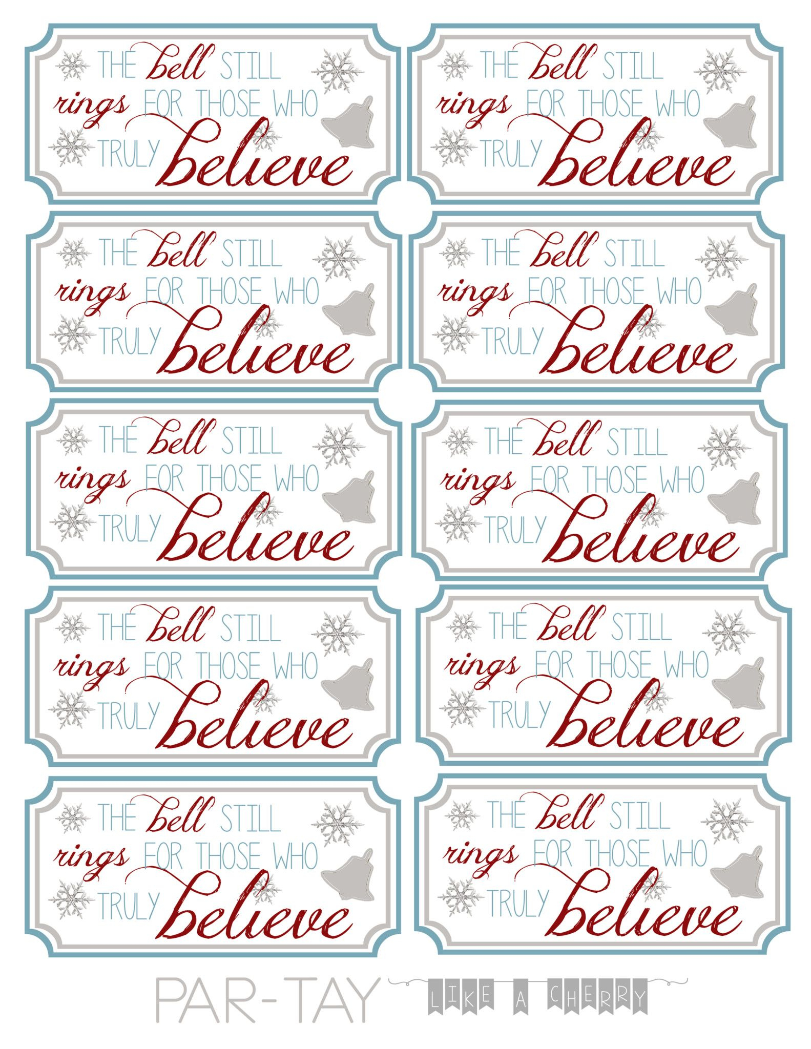 Polar Express Bell Tags | Polar Express Pto Pancake Dinner - Party Favor Tags Free Printable