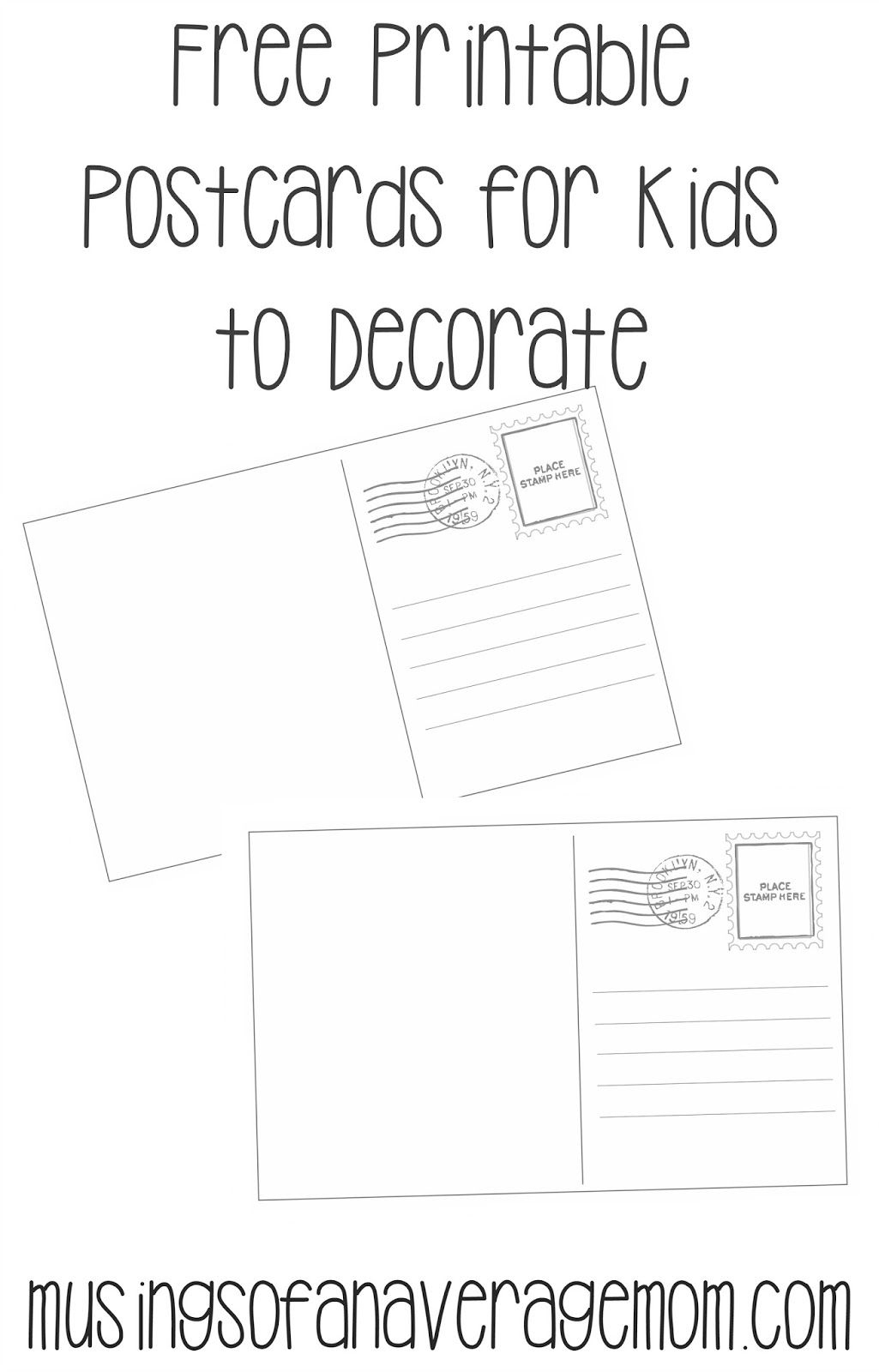 Postcard Templates | Printable Worksheets | Pinterest | Free - Free Printable Postcard Template