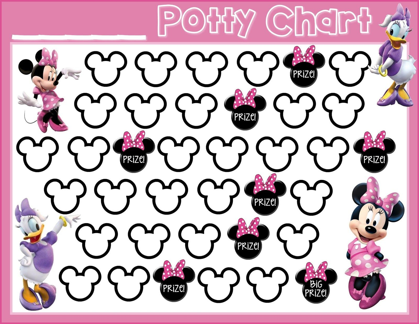 Potty Training! {Free Printable} Minnie Mouse Daisy Duck Free - Free Printable Minnie Mouse Potty Training Chart