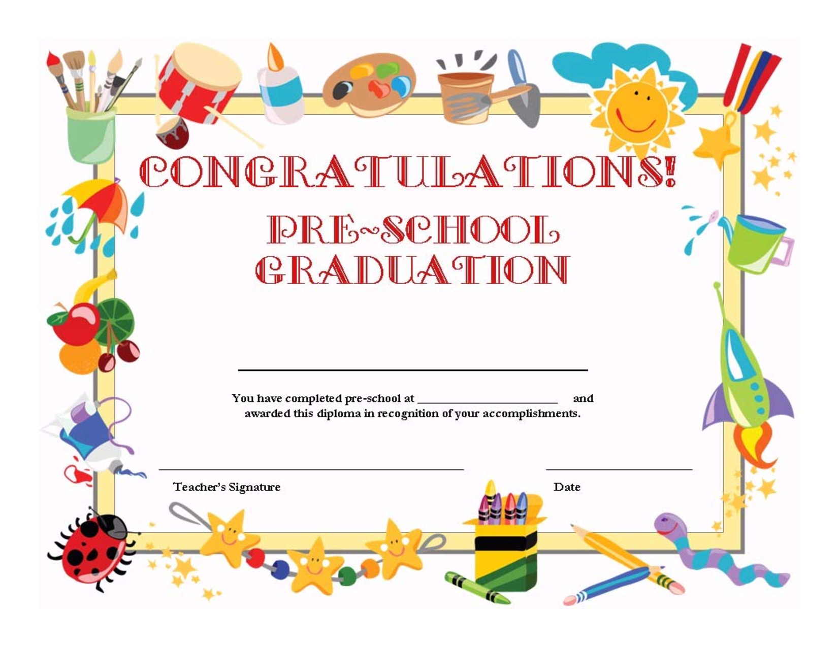 Preschool Graduation Certificate Template Free | K1,2,3 Graduation - Free Printable Children's Certificates Templates