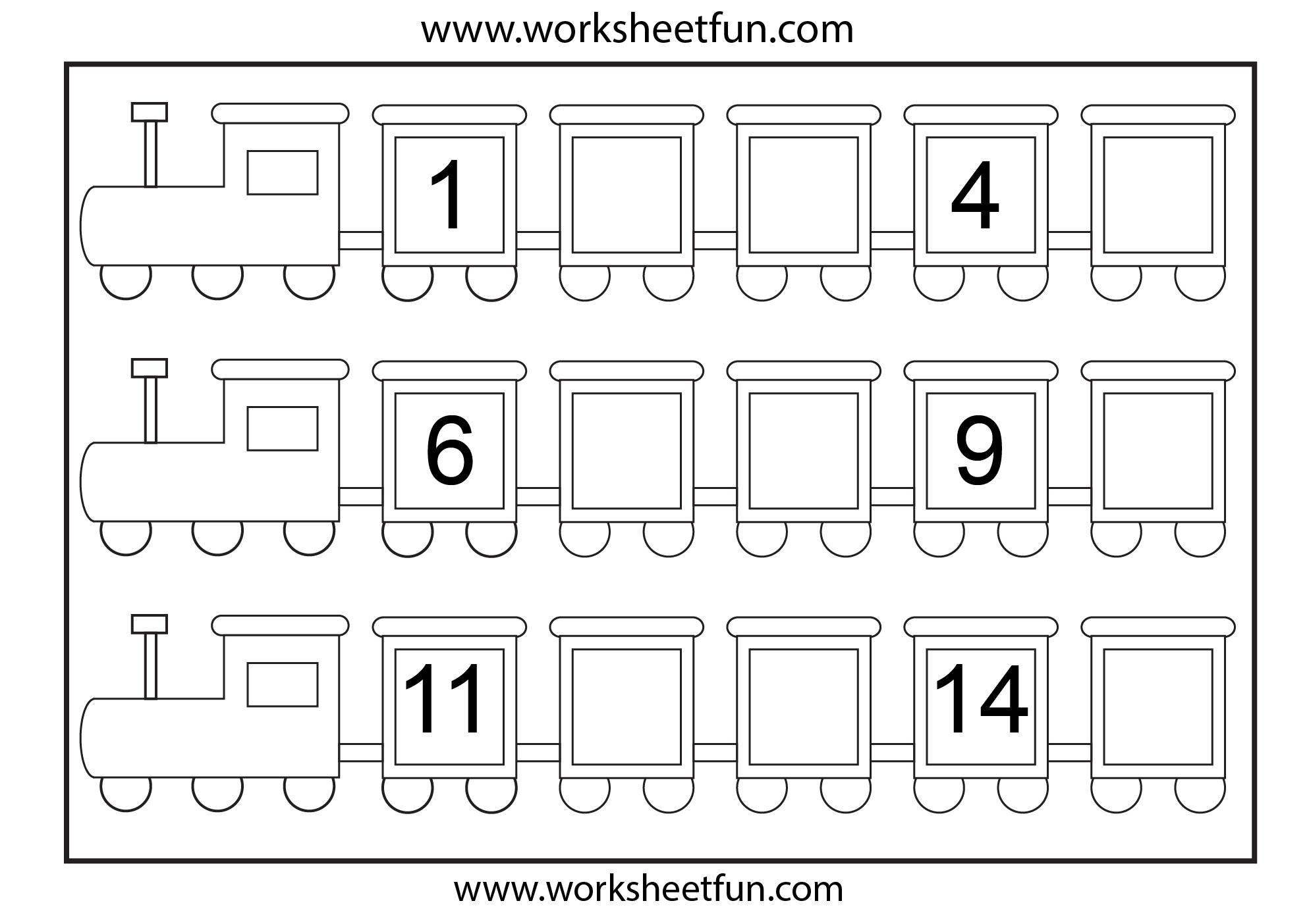 Preschool Missing Number Worksheets | Number Train – Missing Numbers - Free Printable Missing Number Worksheets
