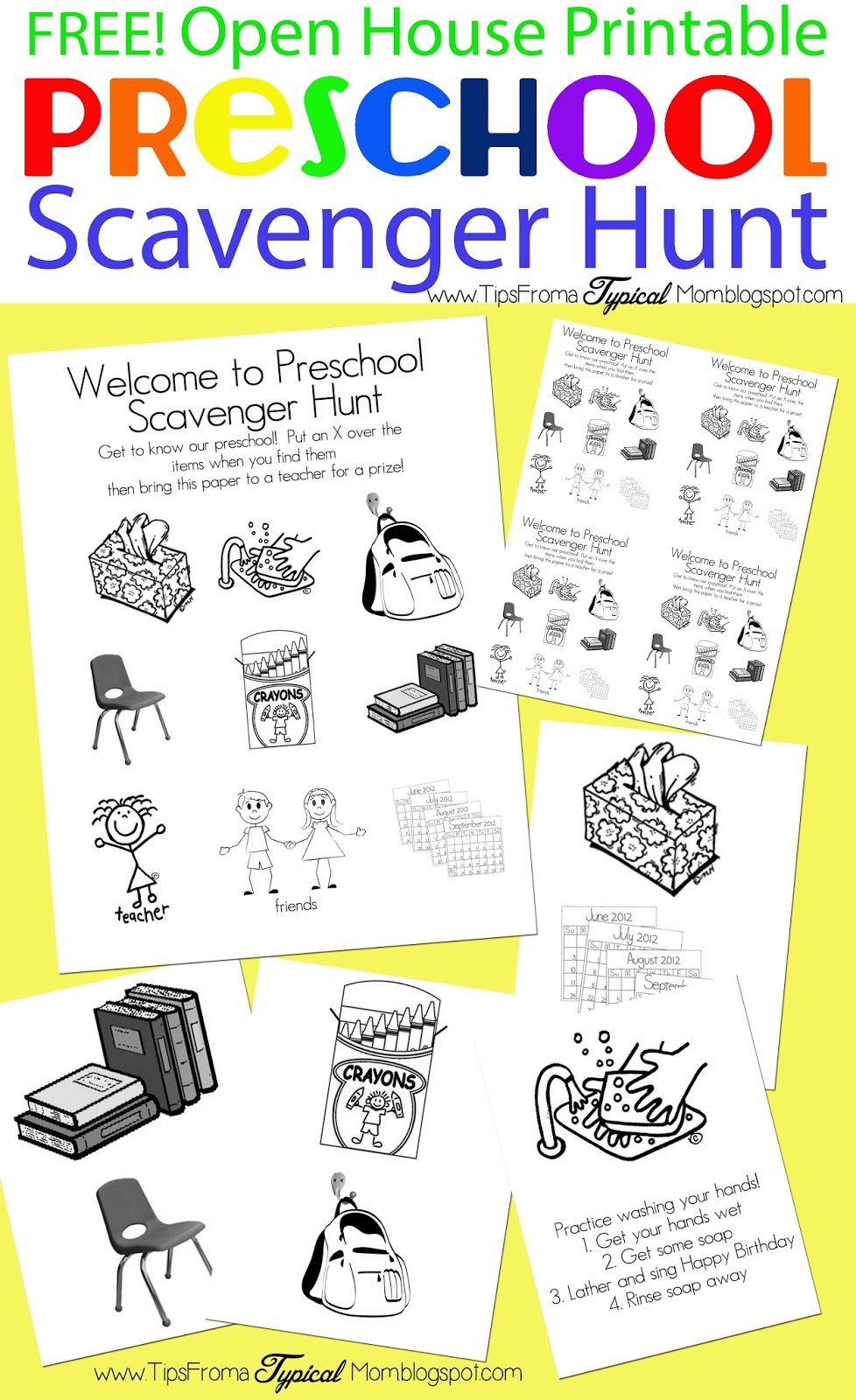 Preschool Open House Free Printable Scavenger Hunt - Tips From A - Free Printable Scavenger Hunt