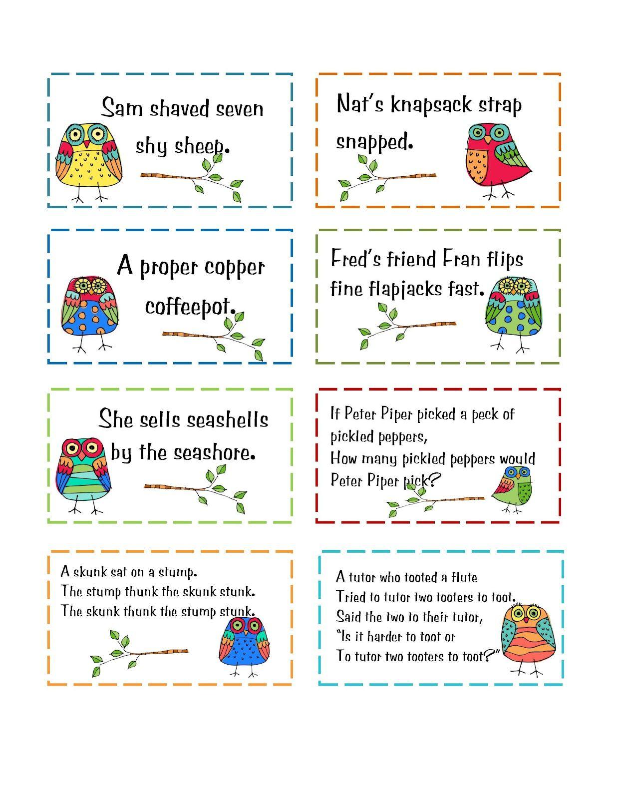 Preschool Printables: Freebie | School | Tongue Twisters For Kids - Free Printable Tongue Twisters